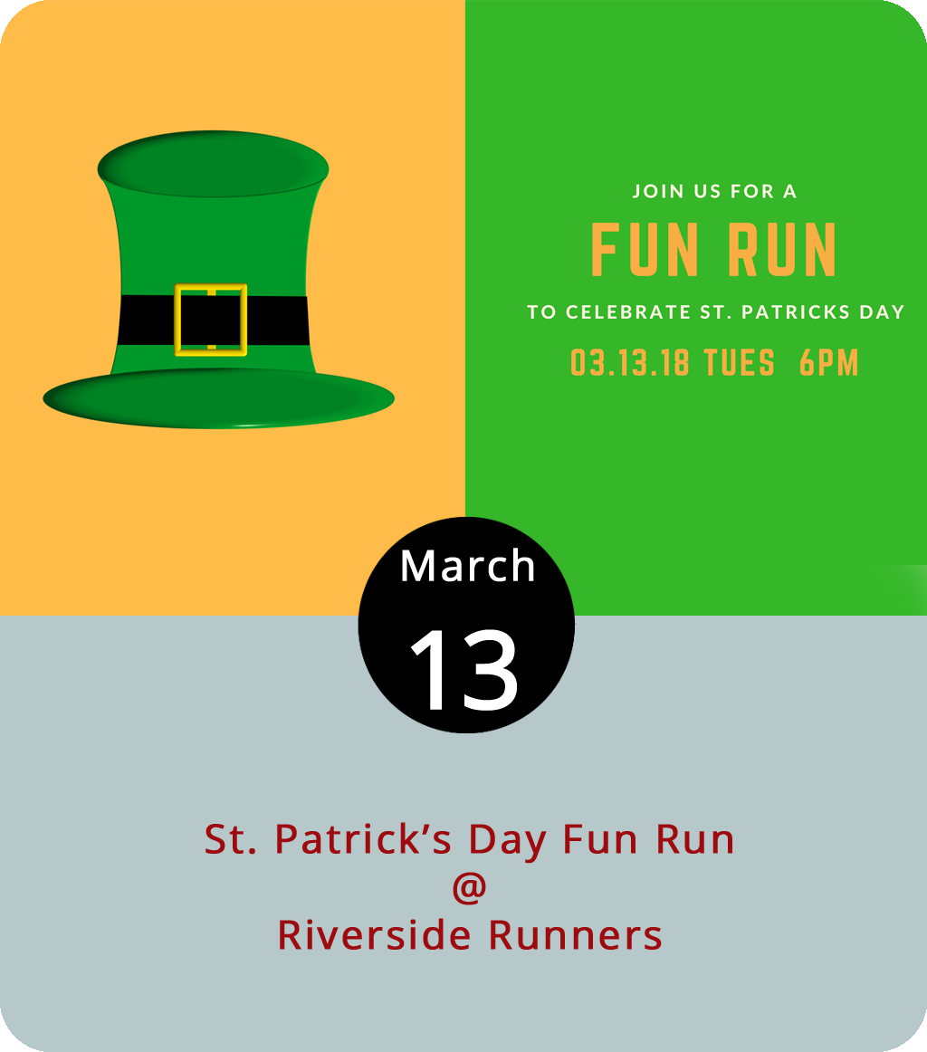 This weekend's St. Patrick's Day shenanigans will feel a lot better after a solid workout this week. As luck of the Irish should have it, the Lynchburg Road Runners Club is holding a St. Pat's fun run tonight. Runners are invited to don their most festive green and gold, the sparklier the better, and gather at Riverside Runners (2480 Rivermont Ave.) at 6 p.m. for a four- or five-mile jaunt. We recommend getting there a little early to stretch. After the run, they'll head back to Magnolia Foods (2476 Rivermont Ave.) for Irish brews and treats. No membership is required, although runners are invited to join the club for their weekly meetings. For more information, click  here  or email  marketinglrrc@gmail.com .