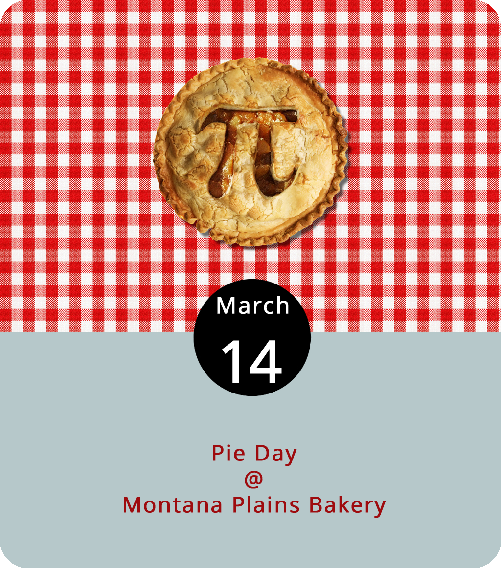 Once a year on March 14, we stop what we're doing to celebrate a special number (3.14…etc.) represented by a two-letter word: Pi. And then we add a letter and make the entire day about eating pie. Anyone have a problem with that? We didn't think so. So we're going to suggest Lynchburgers take the time today to purchase a pie and share it. Although there's a few bakeries in town, we know of one that almost always has some pie on the counter, either whole or by the slice: Montana Plains Bakery (4925 Boonsboro Rd.). Here's a  roundup  of their dessert offerings, which includes mixed fruit pies, specialty dessert pies, and vegetable pies if you're into that sort of thing. They've also got a sister shop,  Cafe Bliss  (828 Main St.). For more information, click  here  or call (434) 384-1779.