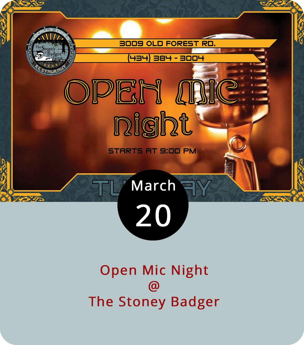 Tuesdays tend to be pretty lax in Lynchburg, but there's always some music going at the Stoney Badger (3009 Old Forest Rd.), which holds a weekly open mic night. There's a group of regulars that make this open mic part of their weekly routine, and it can turn into a jam pretty quickly. But all comers are welcome to try out their chops, workshop a new diddy, or enjoy live tunes as a spectator. The mic opens up at 9 p.m. on the bar's smoking side, meaning attendees should go left at the entrance. It's also worth noting that Tuesdays are Taco night at the Badger. For more info click  here or call (434)384-3004.