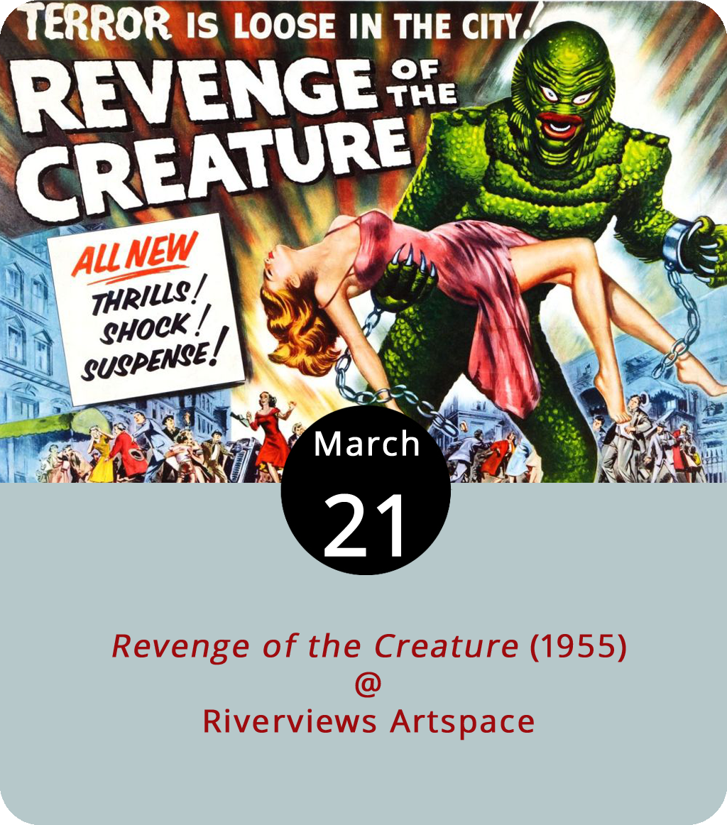A group of scientists take an Amazon expedition to capture the Creature from the Black Lagoon and haul it back to a Florida aquarium where they study the evolutionary curiosity and put it on display. In director Jack Arnold's  Revenge of the Creature (1955), the attempt to domesticate the intelligent and unique being proves foolhardy when it escapes and stalks and kidnaps scientist Helen Dobson (Loris Nelson). The film is this month's pick for Lynchburg's Underground Movie Club hosted by bronze artist and movie buff Ken Faraoni at Riverviews Artspace (901 Lakeside Dr.). Doors open at 7 p.m. for the 7:30 p.m. showing. Tickets are $7. For more info, click  here or call (434) 847-7277.