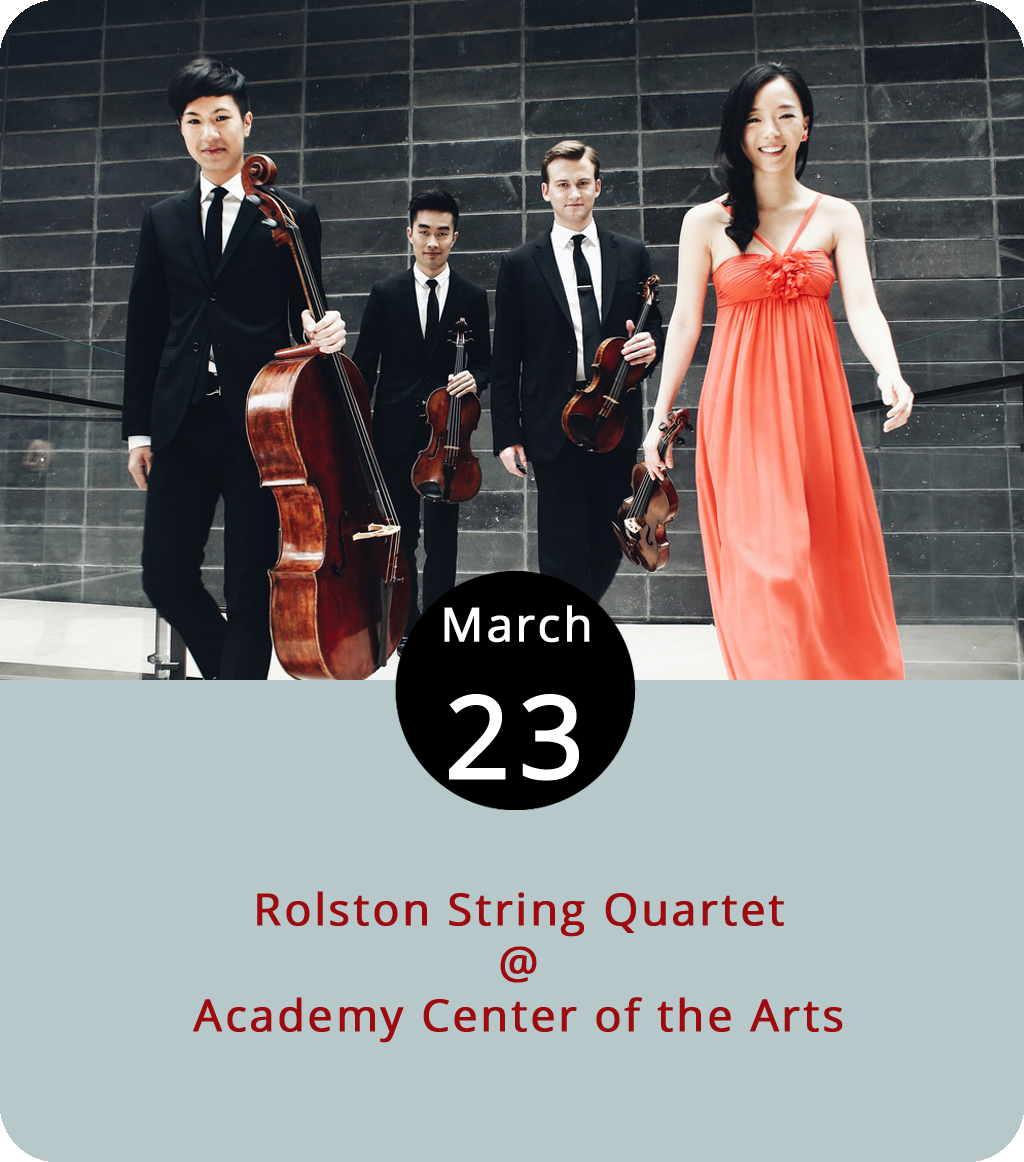 Most four-piece bands that pass through Lynchburg feature a couple guitarists, a bassist, and a drummer. The foursome coming to the Academy Center of the Arts (600 Main St.) this evening have a different set-up. The Rolston String Quartet are a Canadian classical music ensemble who'll bring two violins, a viola, and a cello to the Academy for a 7:30 p.m. performance. It's part of an international tour for the quartet, who are currently in residence at the Yale School of Music. Student  tickets are $10, and adults are $20. For more information, click  here or call (434) 846-8499.