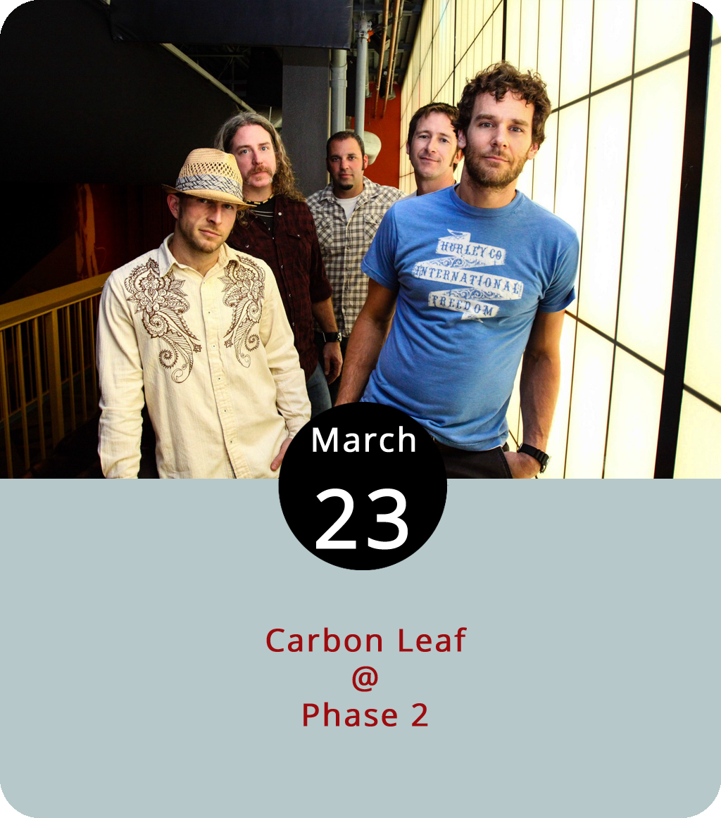 """For 25 years, the Richmond band Carbon Leaf have been cultivating what they like to call """"Ether-Electrified Porch Music,"""" which happens to be the name of an album they released in 1999, just three years before they won an American Music Award and became the first unsigned band to perform at the AMAs. These days, they're still doing it the indie way, writing wistful and ethereal folk songs with a distinctly rootsy edge and crowdfunding new releases like  Indian Summer Revisited , a 2014 rerecording of a 2004 album ( Indian Summer ) that came out on Vanguard and brought them close to something approaching mainstream success. The band are in town tonight for a show at Phase 2 (4009 Murray Pl.). Tickets are $23 for the 8 p.m. show. Click  here for tickets and info, or call (434) 846-3206."""