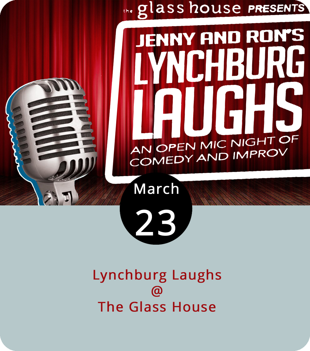 This is not a joke: Lynchburg has a burgeoning comedy scene or, at least, the seeds of one, thanks to Lynchburg Laughs. A loose affiliation of determined standup specialists and aspiring improvisational comics, Lynchburg Laughs has been pulling together those with humorous sensibilities for improv shows and open mic events at the Glass House (1019 Jefferson St.), and they've got another showcase this evening at 8 p.m. It'll feature sets by Jenny Haynes, Ron Hebert, Kristina Montuori, Jodie Davis, and Jake Snyder. Just remember, hecklers in glass houses shouldn't throw tomatoes… or something like that. The $15 admission includes some appetizers. For more info, click  here .