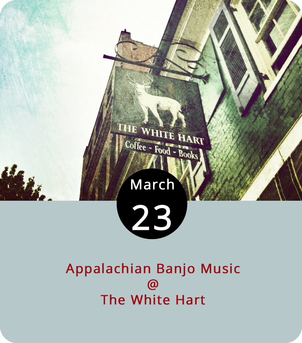 The trusty White Hart Café (1208 Main St.) recently survived a rather smooth transition in ownership from Abe Loper to Daniel Coco, which is good. And, we're hoping they've got their beer and wine license back in working order for this evening's performance by Alex Brown, a Pittsburgh native and Lynchburg resident who likes to play old-time banjo music. He'll hold forth from 7 until 8:30 p.m. and we're starting to get the sense that the new ownership has plans to feature music more often. For more information, click  here or call (434) 207-5600.