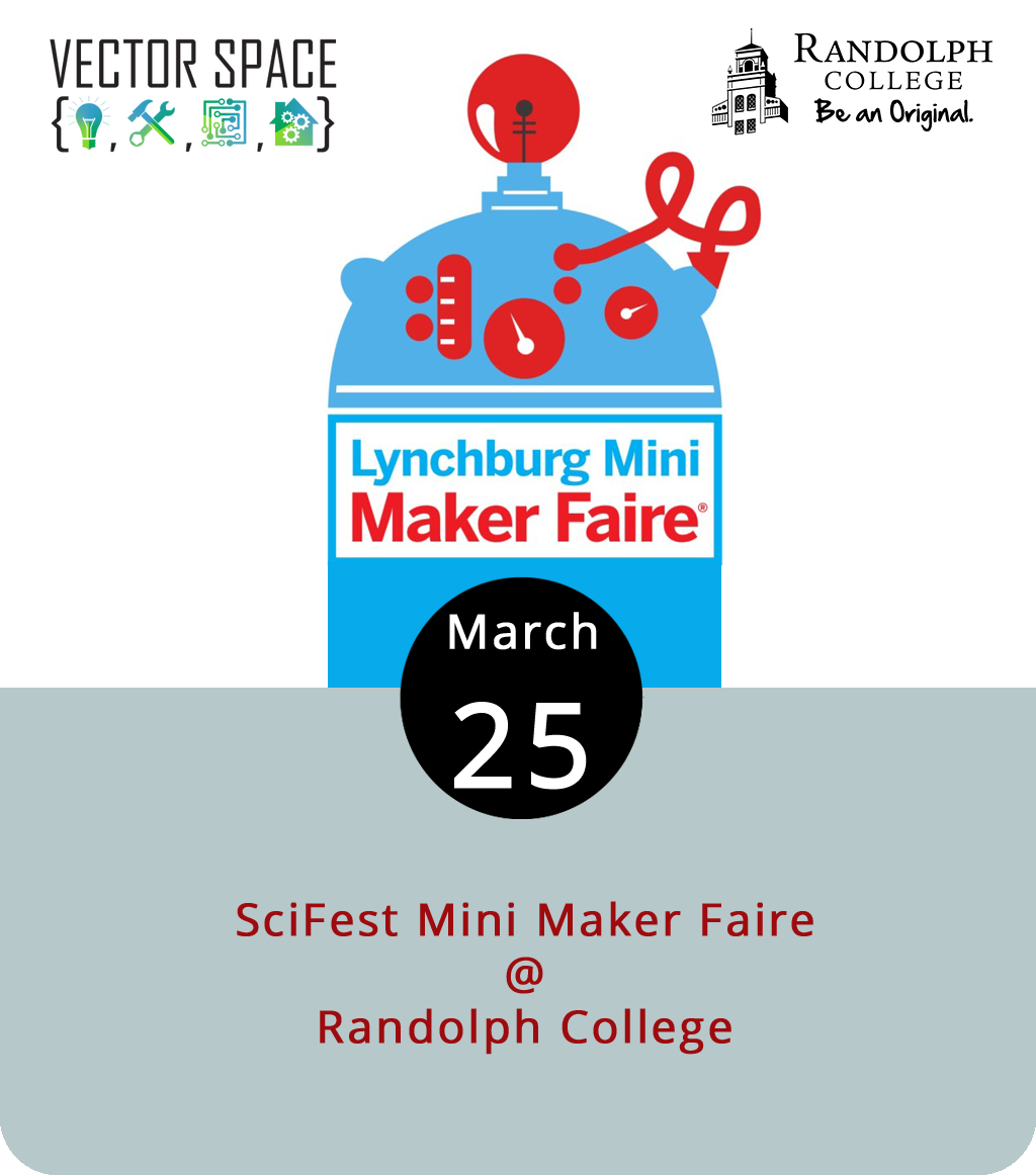 It's SciFest weekend at Randolph College (2500 Rivermont Ave.), which means a whole slate of entertainingly educational programming from the STEM folks at the school, including a big day of family fun featuring bouncy houses and a petting zoo, a Lego League expo, and a Mini Maker Faire today from noon to 4:30 p.m. The local makers at Vector Space are running the Faire, which will introduce young folks to the art of tinkering, creating, and just plain making stuff. There will be food trucks. It's all free and open to the pubic. For more info and a complete SciFest schedule, click  here .