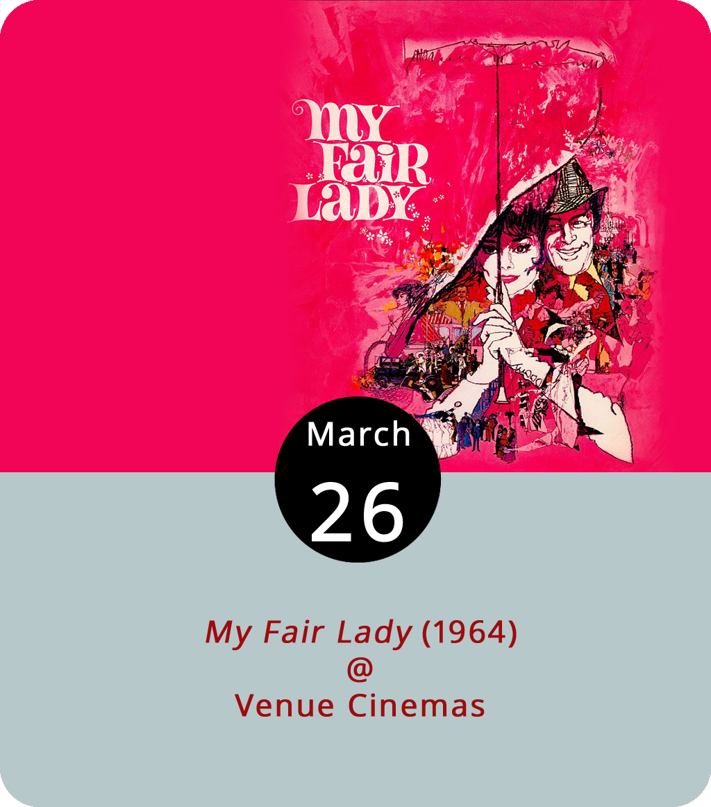 The plot of  My Fair Lady (1964) may remind some of the 1999 movie  She's All That . There's a good reason for that: both films are the progeny of George Bernard Shaw's  Pygmalion . Of course, My Fair Lady has the great Audrey Hepburn, which gives it the edge. Hepburn plays Eliza Doolittle, a working-class girl who learns to pass as an aristocrat after training by phonetics professor Henry Higgins (Rex Harrison). It's a classic comedy of manners, and it's showing all week at Venue Cinemas (901 Lakeside Dr.), although screening times have yet to be announced. Click  here or call (434) 845-2398 for more info.