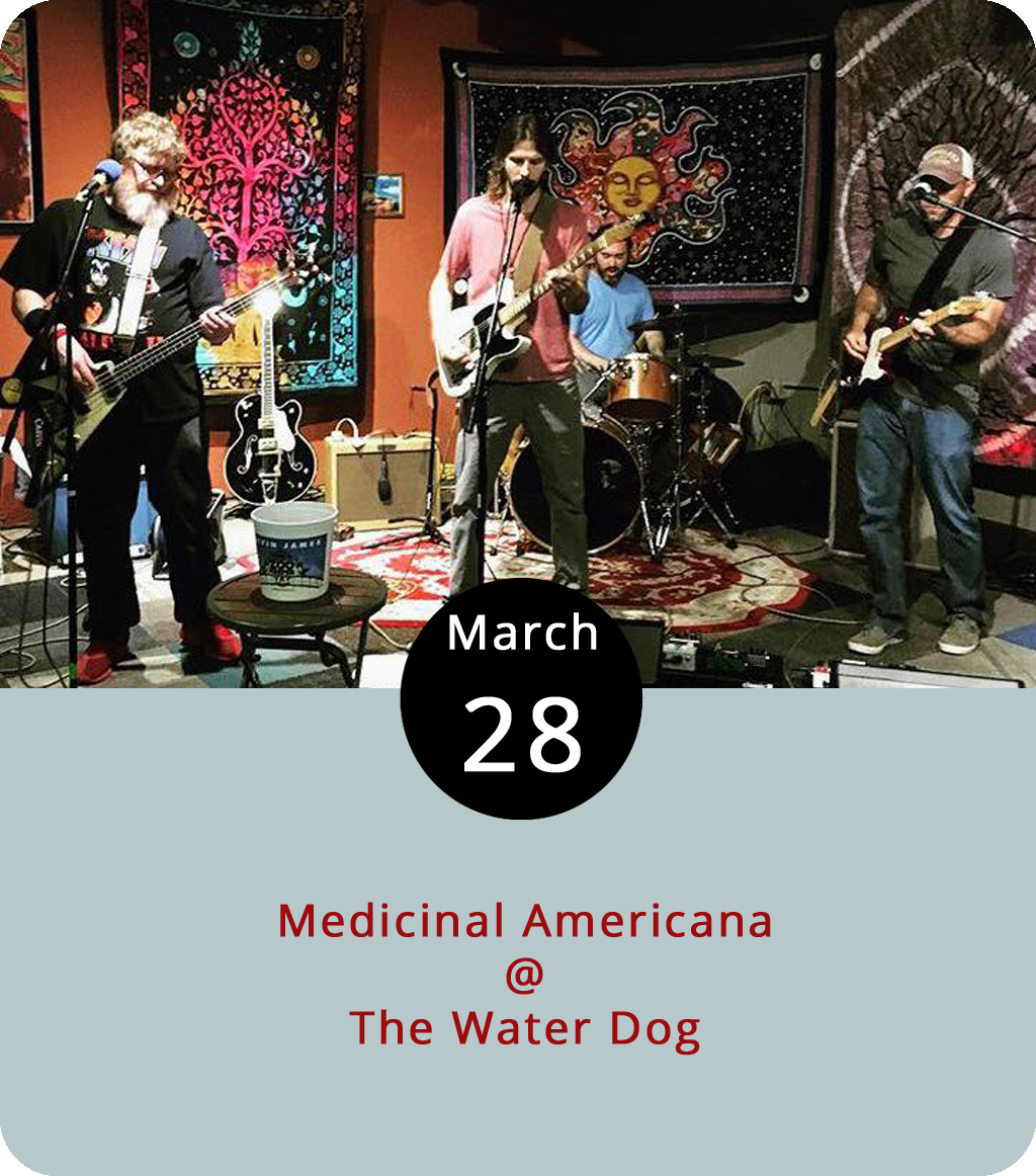 """Sometimes something as simple as a clever band name is all it takes to get us on board. Roanoke's Medicinal Americana – it rolls off the tongue – bring a sense of humor to rootsy American rock or, as they describe it, """"100% organic, 100% local, and 100% legal rock 'n' roll music."""" The foursome claim Tom Petty, Ryan Adams, the Black Crowes, Neil Young, and the Rolling Stones as influences, and they've coming to town to play the Water Dog (1016 Jefferson St.) this evening at 6 p.m. Click  here or call (434) 333-4681 for more info."""