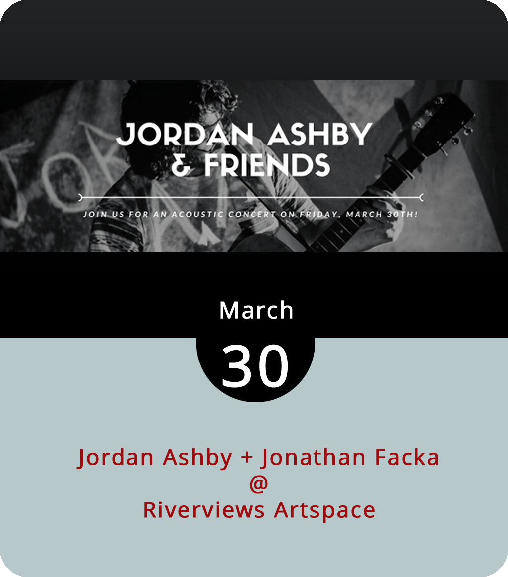 It's something of a rare occasion when Riverviews Artspace (901 Jefferson St.) hosts live music in its Rosel H. Schewel Theatre. The acts they book generally have a good bit of soul, some blues, and a few stories to tell. Tonight Riverviews features Central Virginia musician Jordan Ashby, who released the EP  Fumes  last year, and Richmond-based singer-songwriter Jonathan Facka. The shows usually pack the intimate theater to capacity. Doors are at 7:30 for the 8 p.m. show. Tickets are $7. Click  here or call (434) 847-7277.