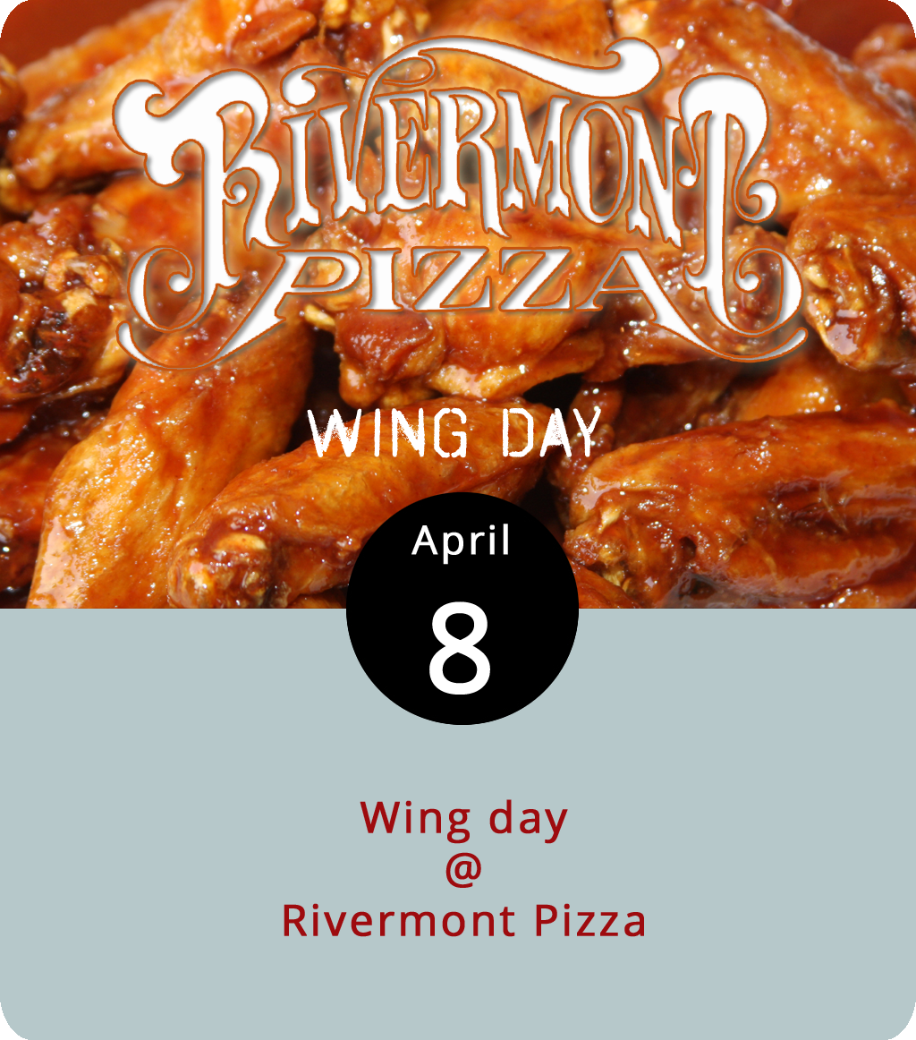 """When the NFL season is in session, as it has been for a few weeks, the kitchen at Rivermont Pizza (2496 Rivermont Ave.) makes wings. They've got ten varieties, including Old Bay dry rub, honey chipotle, a medium heat Buffalo-style """"Carter Jones,"""" the darn warm """"Lindsey Hall,"""" and a Jamaican jerk-style rub. Wings are six for $8 or a dozen for $12. The supply of wings is limited, and they sold out the first weekend before the first Sunday night football scores were in the books. Click here for the RP  menu  and more information, or call (434) 846-2877."""