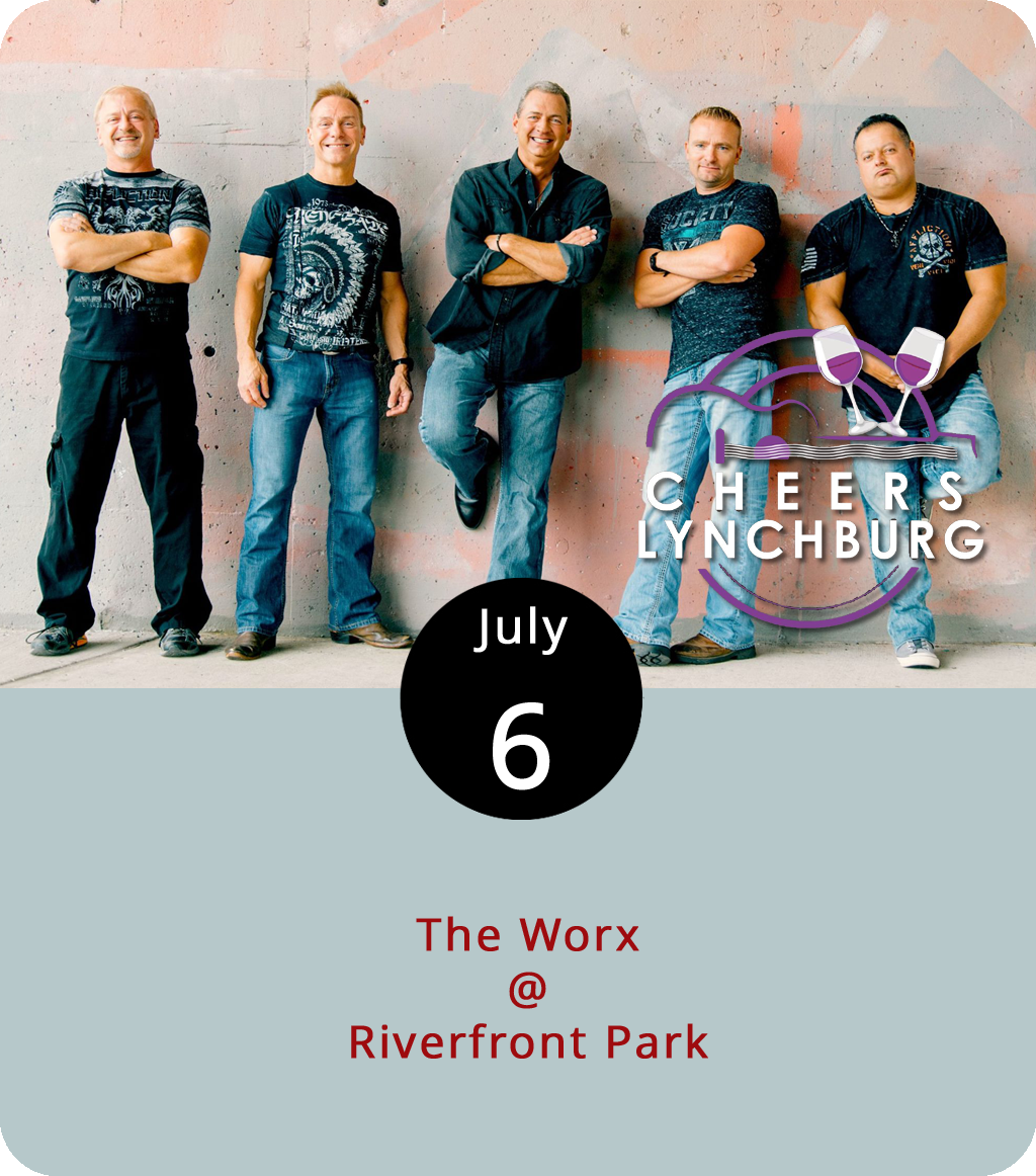 """Lift your glasses, or plastic cups, and exclaim cheers to Lynchburg as the weekly Cheers Lynchburg! concert series at Riverfront Park (1100 Jefferson St.) continues with  The Worx  tonight. The Worx are a cover band out of Roanoke who offer a little pop music for everyone from older hip-hop classics like Beastie Boys' """"Fight for Your Right to Party"""" to country pop nuggets like Zac Brown Band's """"Chicken Fried."""" Gates open at 6:30 p.m. Advance general admission  tickets  are available for $5. For more info, click  here  or call (434) 535-6190."""