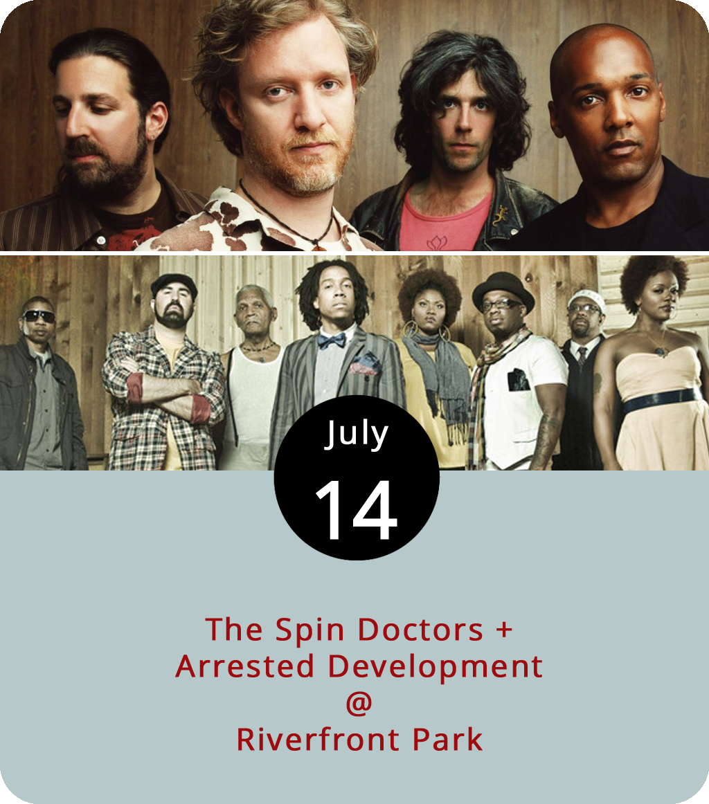 """It's been 20 years since the two bands performing tonight at Riverfront Park (1100 Jefferson St.) formed in separate parts of the country with completely different styles. But both represent quintessential aspects of the '90s music scene. Arrested Development got their start in Atlanta as an Afrocentric hip-hop group with a penchant for funk and social awareness. The group went on to win two Grammys in 1993, including one for what is likely their best known song, """" Tennessee ."""" The Spin Doctors were a jammy pop-rock band who formed in New York City in 1988 and hit pay dirt several years later thanks to a H.O.R.D.E. tour slot and a couple of catchy radio tunes: """" Two Princes """" and """" Little Miss Can't Be Wrong ."""" They're joining forces tonight for the Academy Center of the Arts' summer concert series. General admission tickets are $11. Doors open at 5 p.m. Music starts at 7 p.m. Food trucks will be on the premises. Click  here or call (434) 846-8499 for more info."""