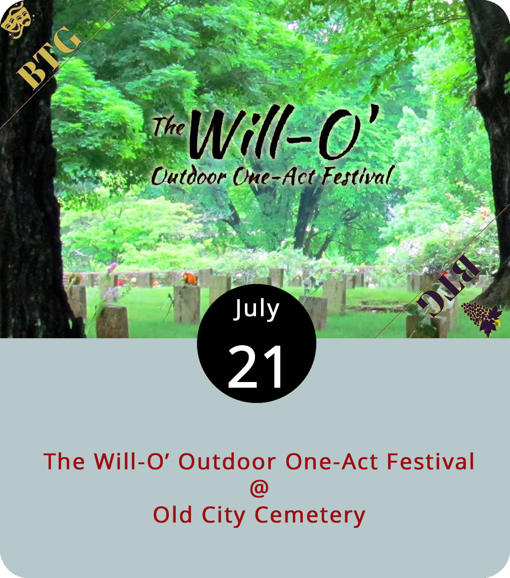 """A traditional staged drama is a tale told in three acts. Today and tomorrow at Old City Cemetery (410 Taylor St.), though, the Will-O' Festival features three one-act plays, which are also a thing. In this case, they've got two one-acts by a guy named Tennessee Williams – the titular Will – and one by Eugene O'Neill, who provides the """"O"""" in the event's title. Bacchus Theatre Group, a Lynchburg-area troupe, will perform  Lady of Larkspur Lotion and  This Property is Condemned by Williams and  Recklessness  by O'Neill. The performance starts at 2 p.m. in the Confederate section of the cemetery. We're told there will be music to entertain guests before the performance and in-between acts. Tickets are $10 at the door. Guests are invited to bring lawn chairs and blankets. For more info, click  here or call (434) 847-1465."""