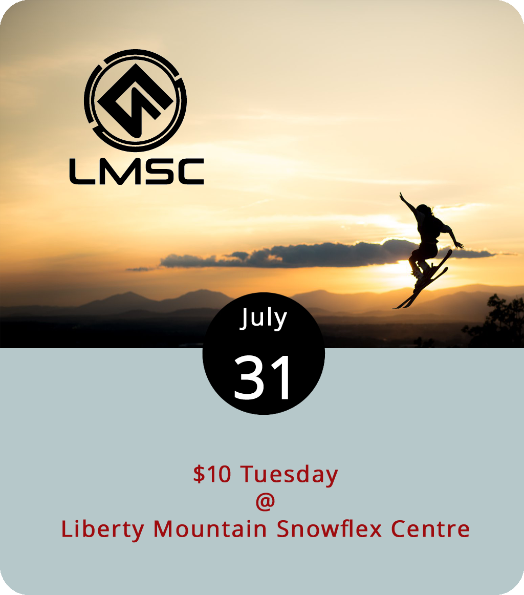 One of the nice things about artificial snow is that it can accommodate skiing, snowboarding, and tubing all year long, regardless of the weather. The  Liberty Mountain Snowflex (4000 Candlers Mountain Rd.) is proof of that, and every Tuesday all comers can get a two-hour pass for $10, which includes access to an Olympic trampoline. The same pass is $25 or $30 the rest of the week. For more info about the special, click  here or call (434) 582-3539.