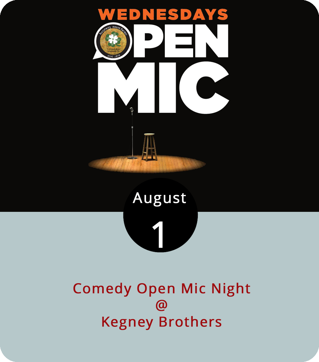 The Hill City has long been home to bars that foster local talent with musical open mic nights. A more recent addition to the local entertainment incubator is comedic improv and open mics dedicated strictly to comedy. Kegney Brothers (1118 Main St.) recently got in on the act with a weekly comedy open mic every Wednesday. Kristina Montuori, who is part of the  Lynchburg Laughs comedy troupe hosts the show, which starts at 10 p.m. For more info, click  here or call Lynchburg Laughs at (540) 525-5916.
