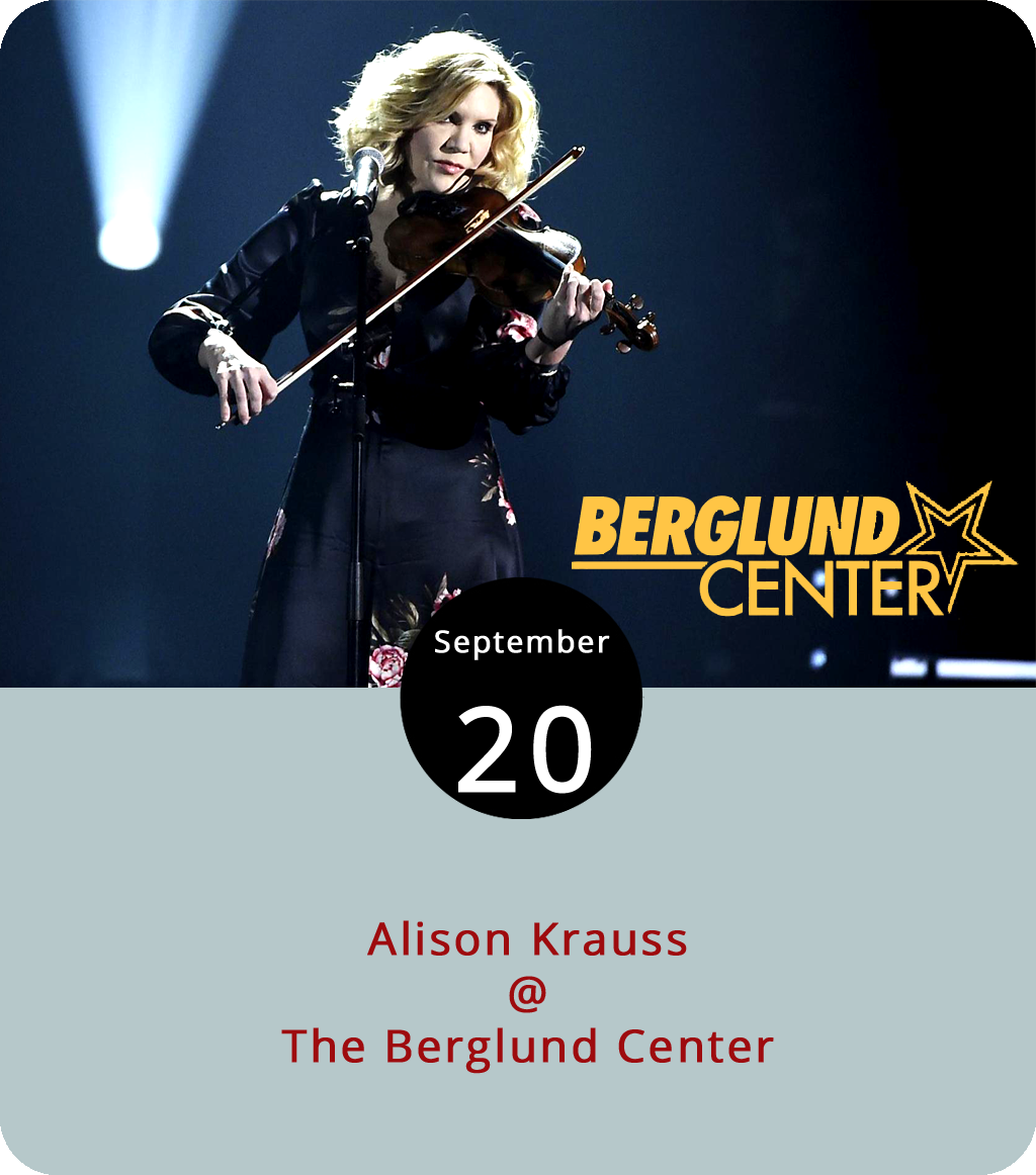 Alison Krauss was just 14 when she released her first album as a bluegrass singer and violinist in 1985. She joined the Grand Ole Opry cast at 21 and was the second youngest artist to win a Grammy when her 1990 album  I've Got That Old Feeling  won the award for Best Bluegrass Recording. Since that time, she's collected many more statuettes, including a 2009 Album of the Year Grammy for  Raising Sand , an album she recorded with Led Zeppelin frontman Robert Plant, and a 2012 Best Bluegrass Recording Grammy for  Paper Airplane .. Her latest album, last year's  Windy City , is a collection of covers that includes songs by Brenda Lee, Bill Monroe, and Glen Campbell. She's on the road supporting that album with a tour that comes to Roanoke's Berglund Center (710 Williamson Rd.) this evening. Doors are at 8 p.m. and tickets run from $65 to $95. Click  here  for tickets and info, or call (540) 853-5483.