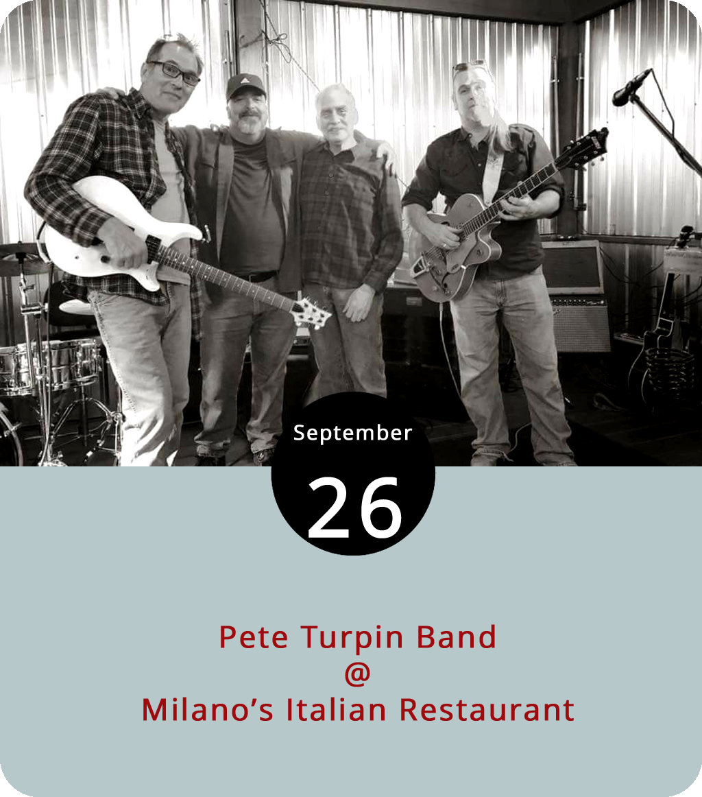 Along with pizza, pasta, and the calzones that we happen to be quite partial to, Milano's (4325 Boonsboro Rd.) serves up some bloozy rock this evening, courtesy of local singer, guitarist, and harmonica player Pete Turpin. Turpin has been gigging in these parts for the better part of 25 years. He's accumulated a solid songbook of original blues tunes and covers by the likes of the Stones, Merle Haggard, and Willie Nelson, which you can sample  here . The regular Wednesday night music showcase at Milano's gets rolling at 7:30 p.m. in the cozy bar area located to the left of the main dining room. There's no cover. Click  here  for more info or call (434) 384-3400.