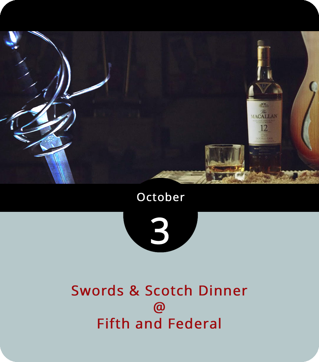 The Lynchburg Fencing Center, the Macallan distillery, and Fifth and Federal (801 Fifth Street) have teamed up to offer a rather unusual dinner pairing: swords and scotch. The swords in question are of the foil, épée, and sabre variety, which means they are used for sport. The scotch comes from the Macallan distillery in Craigellachie, and the multi-course, whiskey-paired dinner will be prepared by the fine chefs at Fifth and Federal. The event gets underway at 7 p.m. with an brief introduction to the art of fencing, and it does require reservations. Dinner tickets are $30; tickets for dinner plus Macallan pairings are $50 per person and include a taste of the distillery's 10-year, 12-year, 12-year double cask, and 15-year whiskeys. Click  here  or call (434) 386-8116.