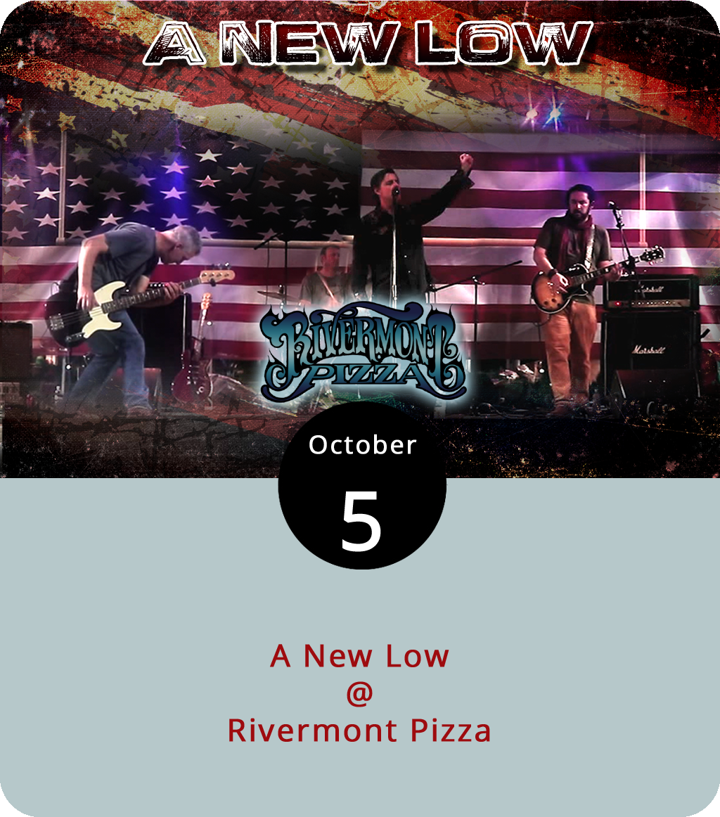 If you're on your way back from the Festy or just looking for a little musical sustenance within Lynchburg city limits, let us humbly and somewhat self-servingly recommend stopping by Rivermont Pizza (2496 Rivermont Ave.) for a late-night gig featuring two members of the LynchburgDoes corporate family: publisher Matt Ashare and design guru Jay Oliveira. The band are called A New Low, and let's just say they have a sensibility that is very much in step with our times. Fronted by local writer Vic Sizemore, and propelled by E.C. Glass High School drumline leader Chris Fosnaugh, A New Low will play two sets of original songs and clever takes on classic tunes starting at 11 p.m. There's a $3 cover, good beer on tap, and slices until closing. For more info, click  here  or call (434) 846-2877.