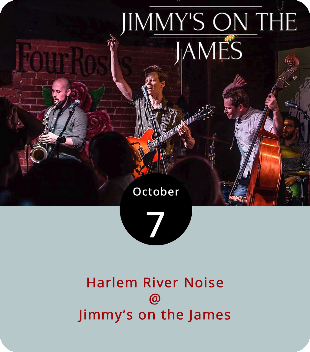 It's something of a special Sunday at Jimmy's on the James (610 Commerce St.). The downtown dinner spot is usually closed on Sundays, but this evening they're opening for a foursome from NYC who specialize in a stylishly retro brand of '50 rhythm & blues. Harlem River Noise feature singer-guitarist Kyle Lacy, upright bassist Cody Gibson, Boyce Griffith on tenor sax, and Steve Renko on the drums. They're on a tour supporting their second album,  Irresponsible Days , which came out in early August. You can hear some of the album  here , and catch them at Jimmy's tonight from 6-9 p.m. To check out the menu, click  here . For more info call (434) 845-1116.