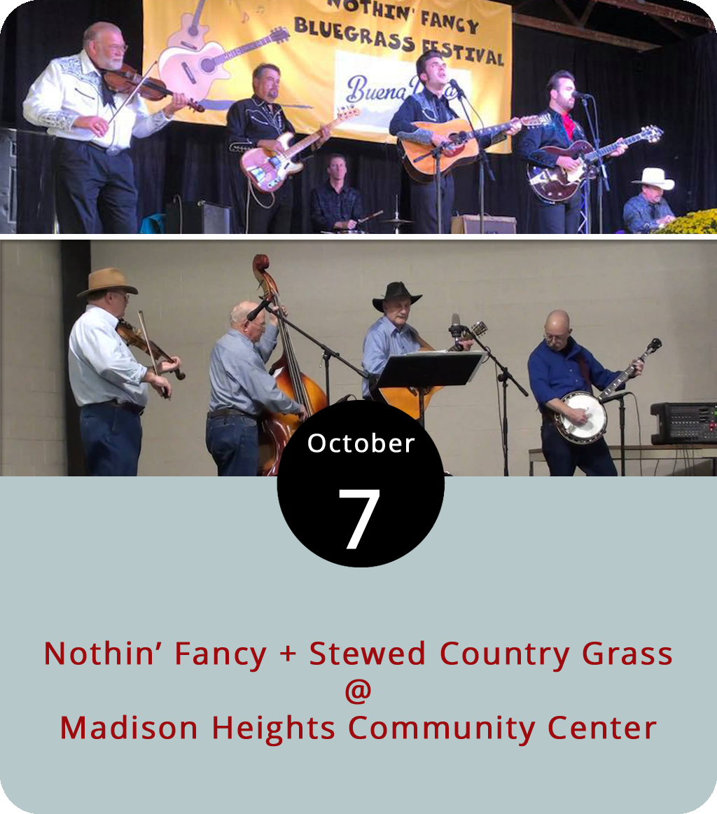 Among the many things we've been pleased to learn this week is the fact that the James River Bluegrass Association is a thing. Even better, the organization is based in nearby Madison Heights, which is where they'll be presenting an afternoon of live bluegrass music featuring the storied Virginia band Nothin' Fancy, who are Virginia music hall of famers, Society for the Preservation of Bluegrass Music of America award winners, and the hosts of the annual Nothin' Fancy Bluegrass Festival that takes place every September in Buena Vista. This afternoon they'll be joined by the local band Stewed Country Grass at the Madison Heights Community Center (434 Woodys Lake Rd.) for a show that starts at 2 p.m. Tickets are $15, or $13 for Bluegrass Association members. For more info, click  here  or call (434) 907-2808.