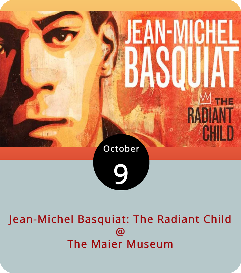 """By 2010, the year director Tamra Davis release her documentary  Jean-Michel Basquiat: The Radiant Child , the subject of her film was something of an international star or at the very least a legend in the art world. Jean-Michel Basquiat was also dead. He'd passed at the age of 27 twelve years prior, in 1988. It had taken some years for Basquiat's name to transcend the SoHo art world he had inhabited. Davis' film served as something of an addendum to the 1996 biopic  Basquiat , which starred David Bowie as Andy Warhol and was directed by Julian Schnabel. Bowie doesn't get any screen time in  The Radiant Child , but Schnabel does, as do a host of other players from NYC's downtown arts and music scene. The documentary screens this evening at 7 p.m. at Randolph College's Maier Museum (1 Quinlan St.) as part of the museum's current exhibit, """"Zeitgeist: The Art Scene of Teenage Basquiat."""" Admission is free. Click  here  or call (434) 947-8136 for more info."""