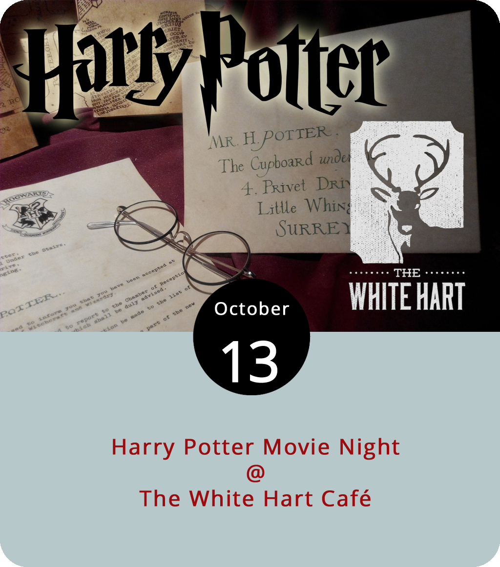 The White Hart Café (1208 Main St.) has been coming up with interesting ways to bring together like-minded folks over coffee and other potables, and this evening is no exception. Here's what's in store: a screening of the first installment of the Harry Potter cinematic franchise coupled with wizard-themed pastries, beer-buttered lattes, and a 20% discount for those who show up in proper Potter costume. In case you've forgotten, the first film based on J.K. Rowling's blockbuster young-adult series was 2001's  Harry Potter and the Sorcerer's Stone , which was titled  Harry Potter and the Philosopher's Stone  in England and in its original written form. The magic gets underway at the White Hart at 8 p.m. Click  here  or call (434) 207-5600.