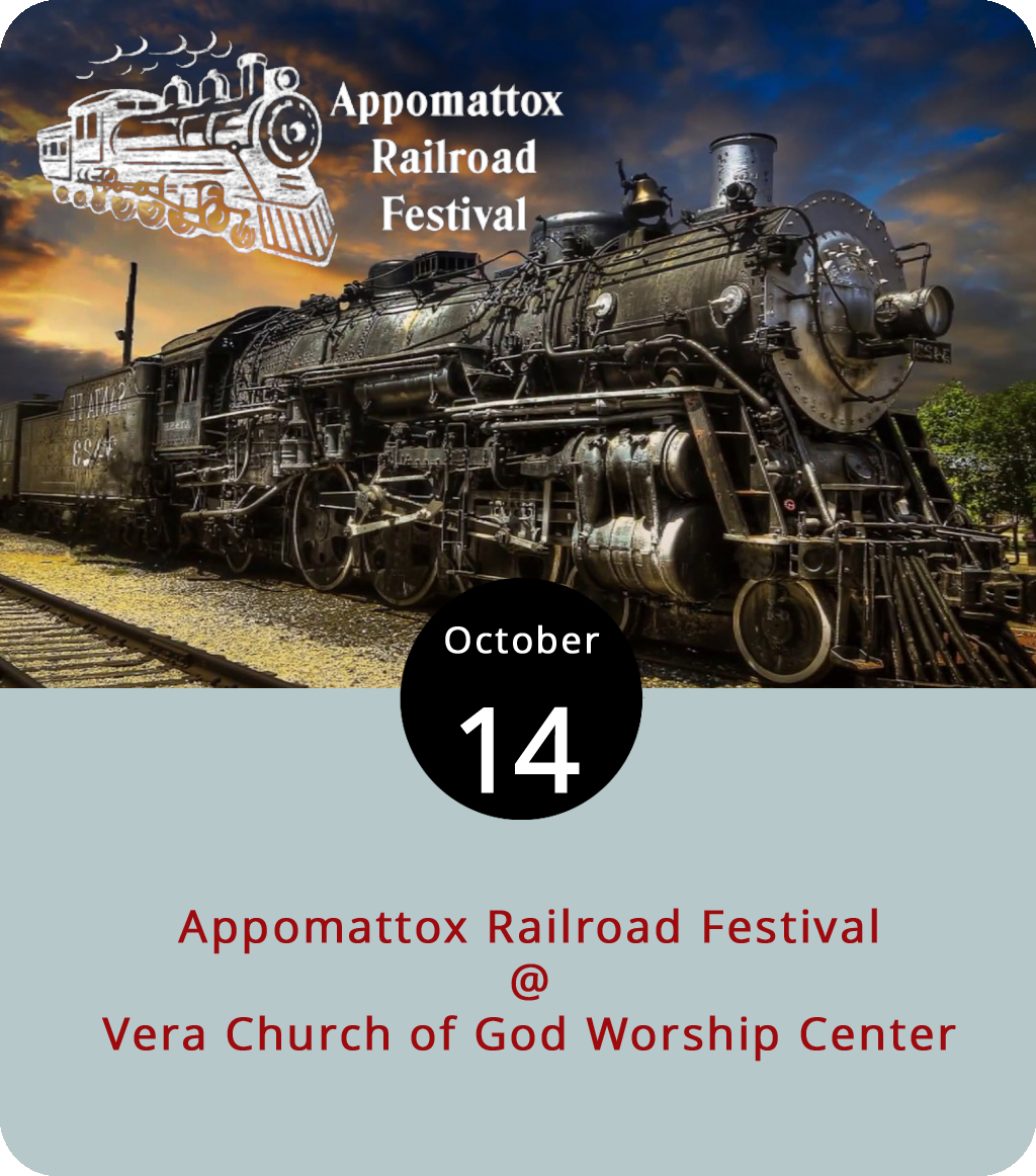For the 46th year running, downtown Appomattox will be taken over by the annual Appomattox Railroad Festival, a celebration that has its roots in the Norfolk & Western Railroad's donation of Appomattox Depot to the town in the 1920s. The Festival includes musical performances, parades, food vendors, a classic car show, a fairgrounds with carnival rides, and more. It's open from noon to 5 p.m. today. For more info, click  here  or call (434) 363-8003.