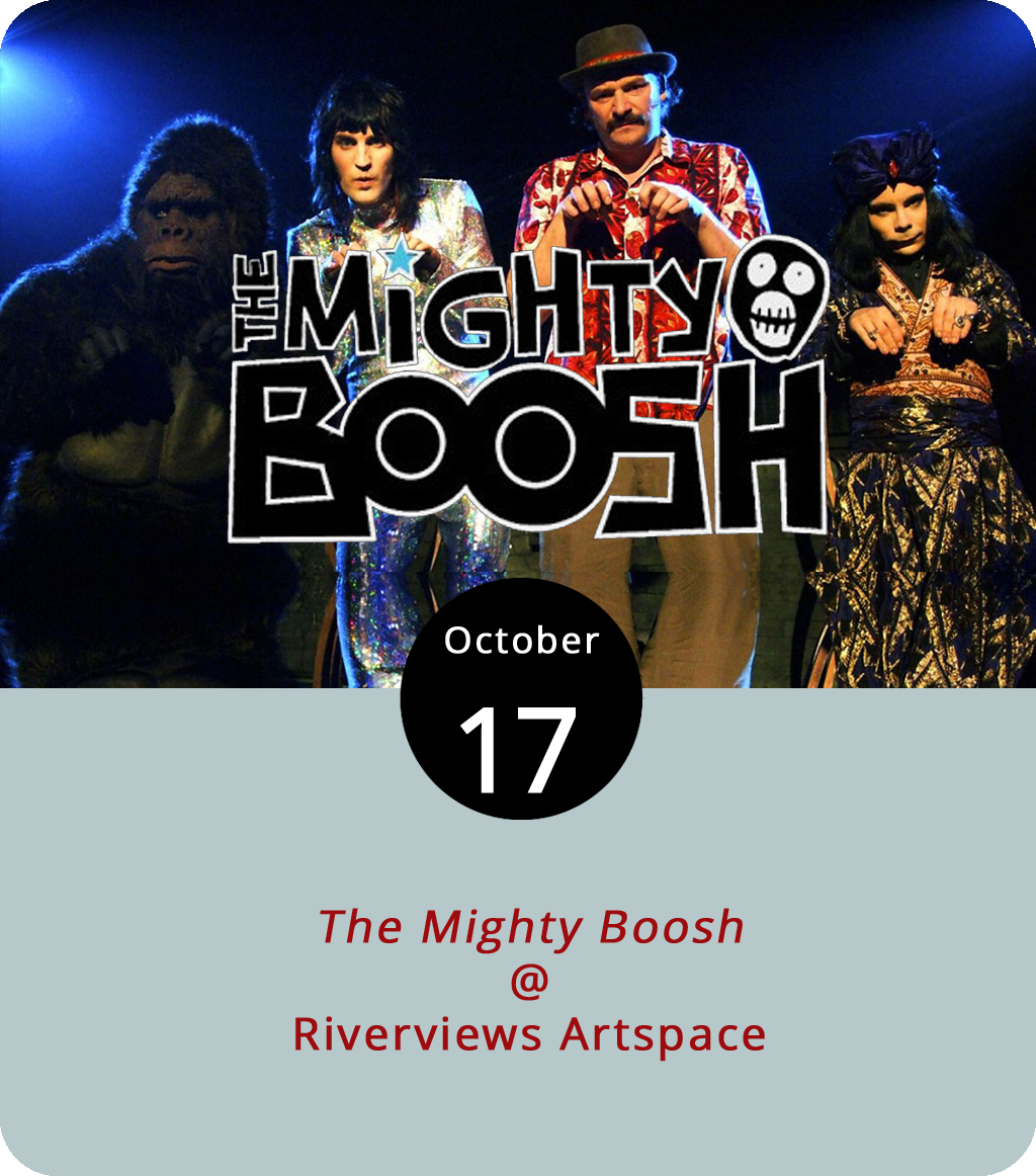 We have to hand it to Ken Faraoni for this one. He's unearthed a genuinely obscure cult favorite for this month's Lynchburg Underground Movie Club (LUMC) screening at Riverviews Artspace (901 Jefferson St.). It's technically not a movie, but that's okay.  The Mighty Boosh  is a British television comedy named after the five-man comedy troupe who have performed on stage and on radio as the Mighty Boosh and who have reportedly considered making a movie. Tonight, Faraoni will present an LUMC screening of several prime episodes of  The Mighty Boosh , which aired on BBC Three for 20 episodes between 2003 and 2007. It's rumored to be quite funny. The screening begins at 7 p.m. in the Rosel H. Schewel Theater. Tickets are $7. Click  here  or call (434) 847-7277 for more info.