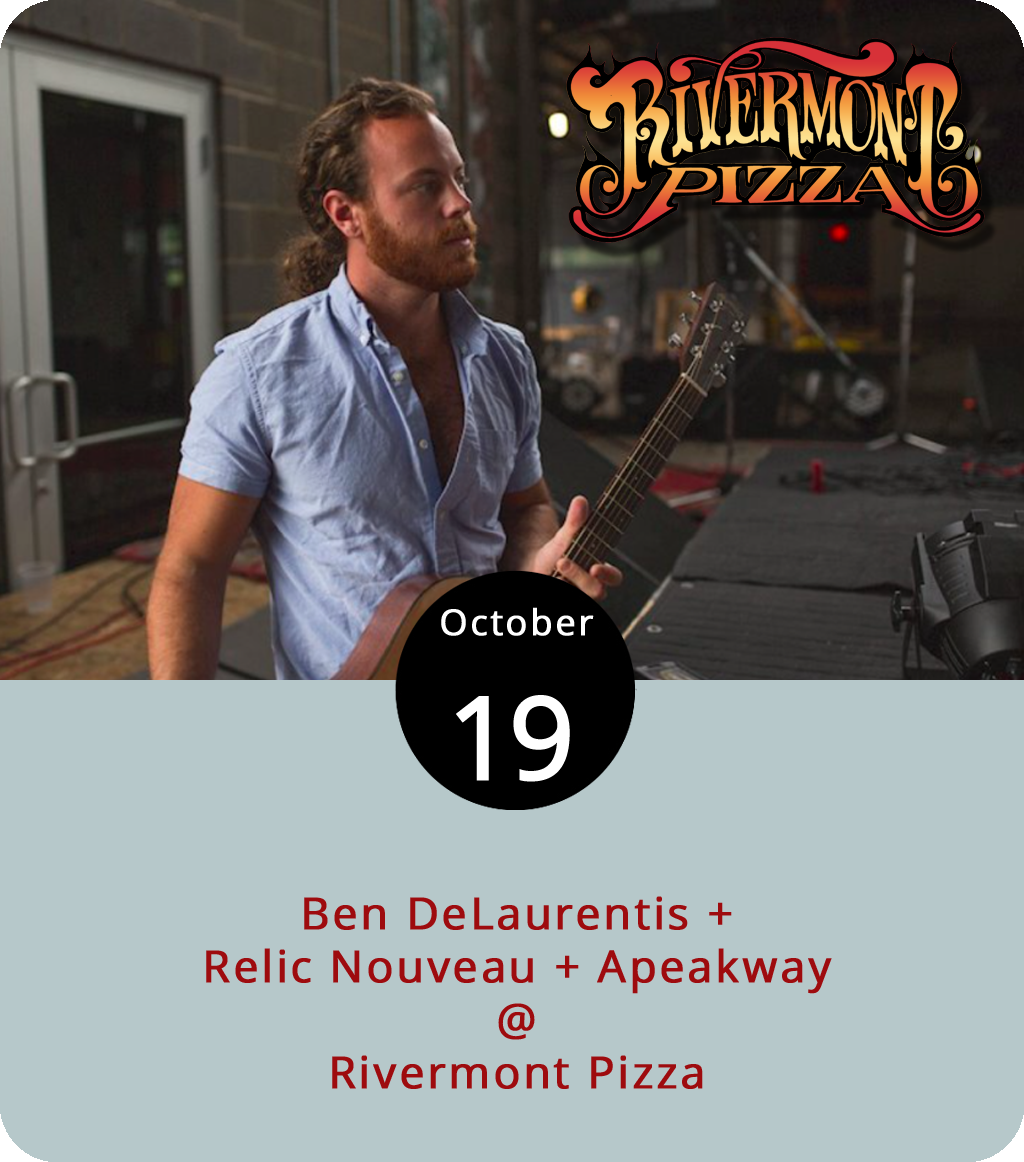 Ben DeLaurentis is a local singer/songwriter/guitarist who sometimes fronts the band Steal the Prize. But of late he's been doing his best to get out of town and make a name for himself regionally and nationally. He's got a new solo album called  Liar for a Muse  and a big national tour planned after he headlines a show tonight at Rivermont Pizza (2496 Rivermont Ave.). He'll be joined on the bill by the Charlottesville band Relic Nouveau and by a local act called Apeakway. There will be a cover but it shouldn't be more than $5 to get in. Click  here for more info or call RP at (434) 846-2877.