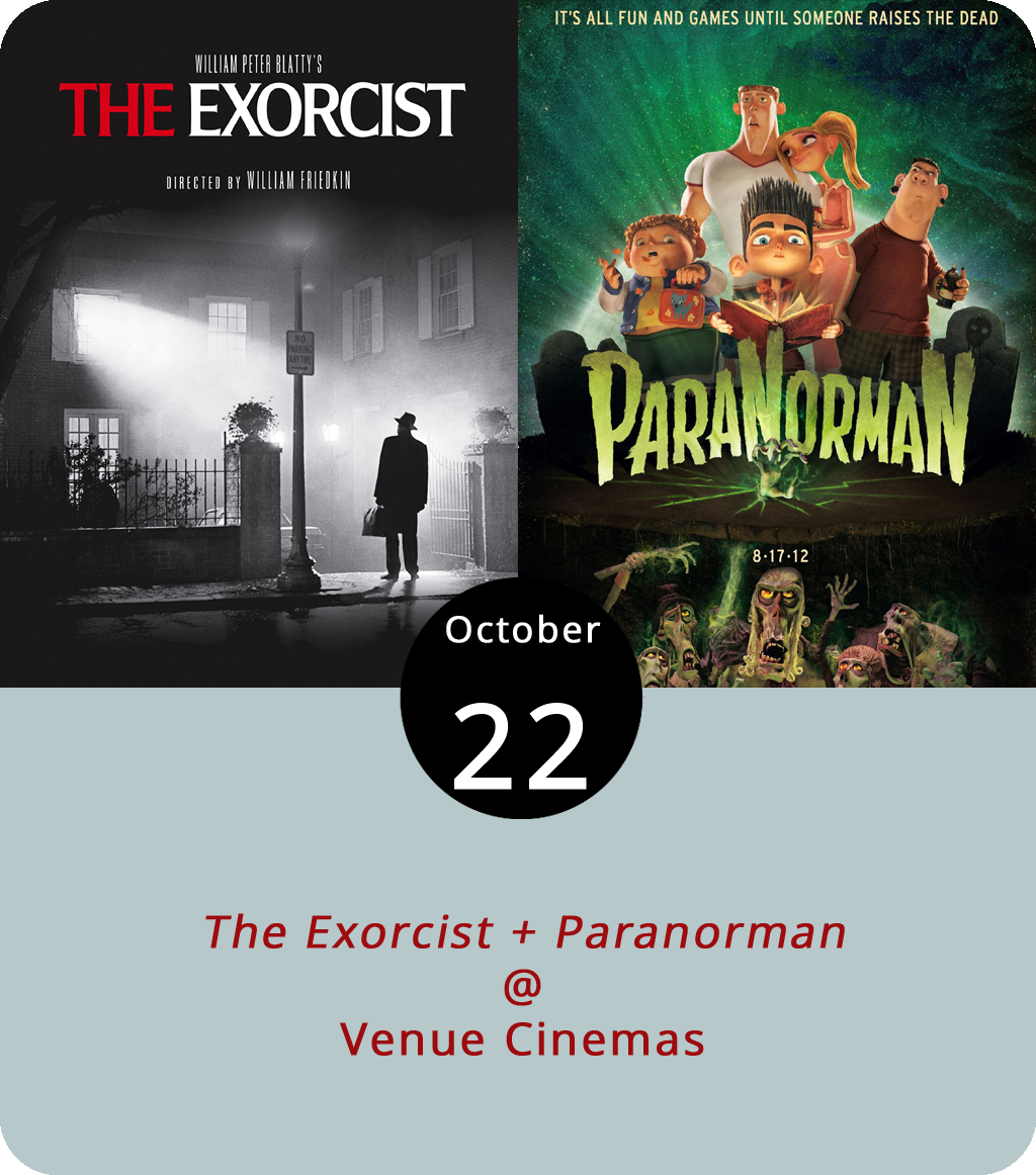 The classic frights and fun continue this week at Venue Cinemas (901 Lakeside Dr.) with two very different films aimed at two very different demos. William Friedkin's 1973 film  The Exorcist  is simply a masterpiece of American scary cinema, and a template for the psychological supernatural thriller genre. It stars young Linda Blair as the possessed 12-year-old Regan MacNeil and Jason Miller as the priest who exorcizes her demons. Warning: It is not for the faint of heart or weak of stomach.  Paranorman , on the other hand, is a friendlier sort of supernatural film about an 11-year-old who speaks with the dead. It's an animated film that's more for the light of heart. Both films screen through the end of the week. For show times and tickets click  here or call (434) 845-2398.