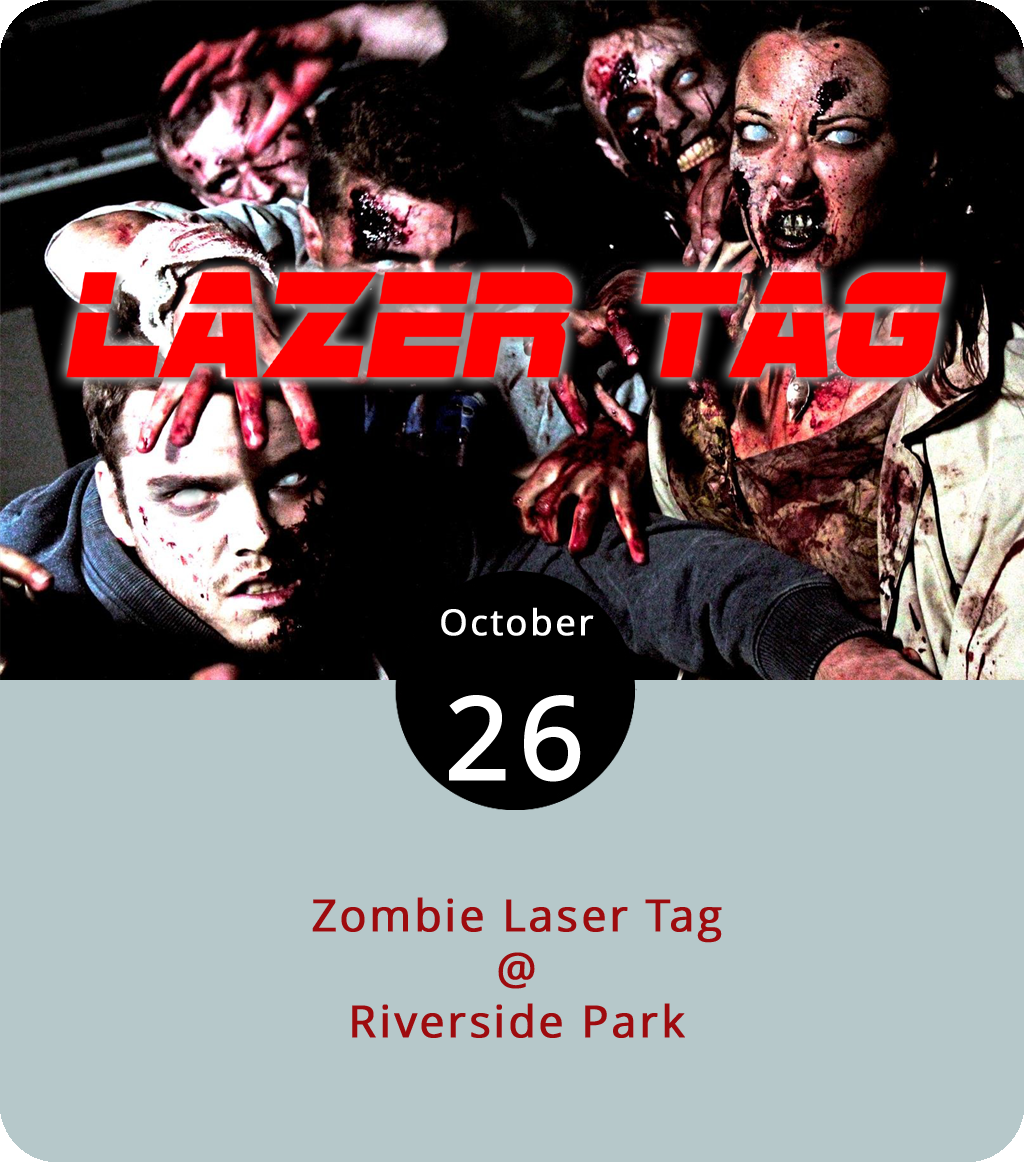 The fine folks at Lynchburg Parks & Recreation are turning Riverside Park (2238 Rivermont Ave.) into a dusk-of-the-undead battleground this evening and inviting teams of four-to-six competitors to come dressed as zombies and ready to engage in seven-minute rounds of capture the flag-style laser tag. Here's how it works: teams can register online by clicking  here  before October 25. Teams will be assigned opponents on site, furnished with laser tag equipment, and given three rounds to battle it out. Parks & Rec will provide cider and s'mores, and there will be prizes for scariest and funniest zombie costume, as well as awards for best zombie couple, best zombie team, and best zombie hunter. Click  here  for more info, or call (434) 455-5858.