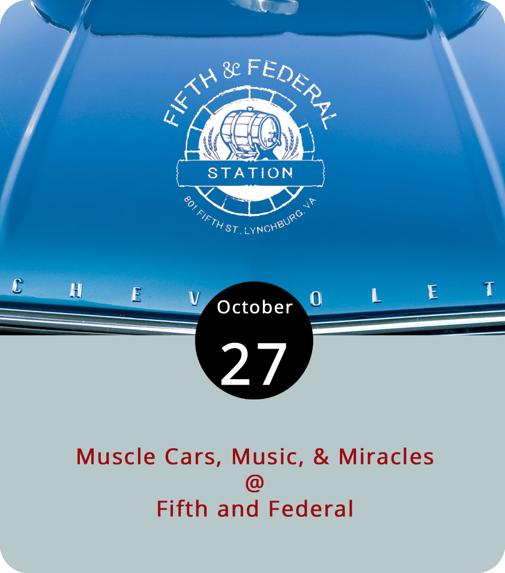 It's gonna be a busy day at Fifth and Federal (801 5th St.). From noon until 5 p.m. they've got a muscle car and truck show to benefit the Children's Miracle Network of Central and Southwest Virginia. Just donate one dollar and you get to vote on the best and baddest vehicles on display. In addition, Fifth and Federal's barbecue specialists will be roasting a whole hog and serving it up starting at noon, and there will be music throughout the day and into the evening courtesy of Andrew Washington, Benjamin Mays, Tyler James, Brinn Black, and Place Called Home in the guise of Tom Petty & the Heartbreakers. As if that weren't enough, a Halloween costume party and contest will commence at 7 p.m. For more info, click  here  or call (434) 386-8113.