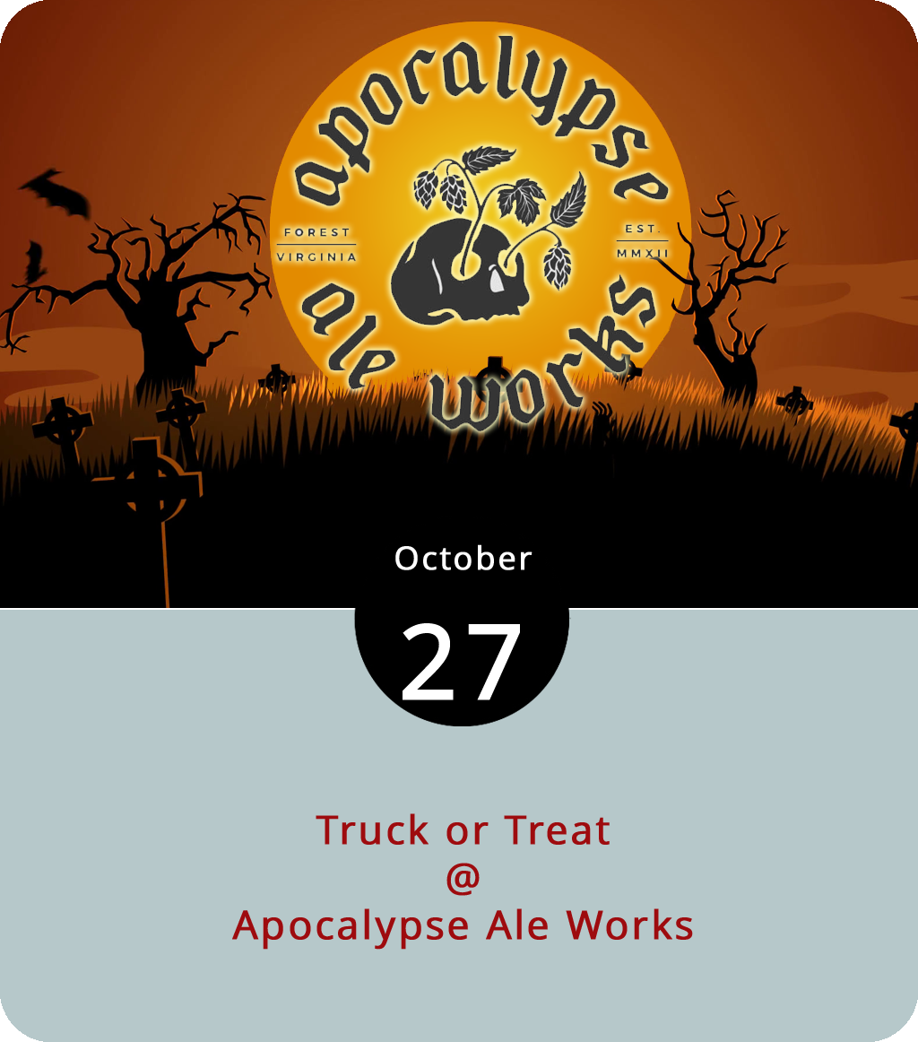Looking for a pet-friendly way to celebrate Halloween? How about a food truck round-up fundraiser for the Lynchburg and Bedford Humane Societies? That's what's on tap today from noon to 5 p.m. at Apocalypse Ale Works (1257 Burnbridge Rd.) in Forest. Costumes are encourages, pets are welcome, and there will be trick or treating involved. The Centra Code Fresh Food Truck, Action Gyro, the Dawg House, and Where the Sweet Things Are will be driving onto the grounds to serve food, and Apocalypse will have its usual selection of craft brews flowing, as well as their seasonally appropriate Double Dry Hopped Hell's Frozen IPA. Admission is $5 and kids under ten get in free. Click  here  or call (434) 258-8761 for info.