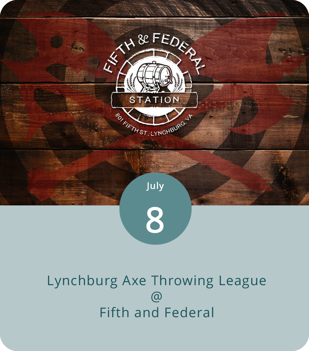 As we've mentioned previously, the 2nd Annual World Axe Throwing Championship was held in Chicago last December. Among the lumberjacks and lumberjills who placed high in the standing, none were from the state of Virginia. That's good news for the competitors in the four-week Lynchburg Axe Throwing League tournament that continues into its third week at Fifth and Federal (801 5th St.) this evening. Local axe throwers will give it a go starting at 5:30 p.m. Each competitor gets 30 shots. It's free for spectators; competitors can register by clicking  here . For more info, click  here  or call Fifth and Federal at (434) 386-8113.