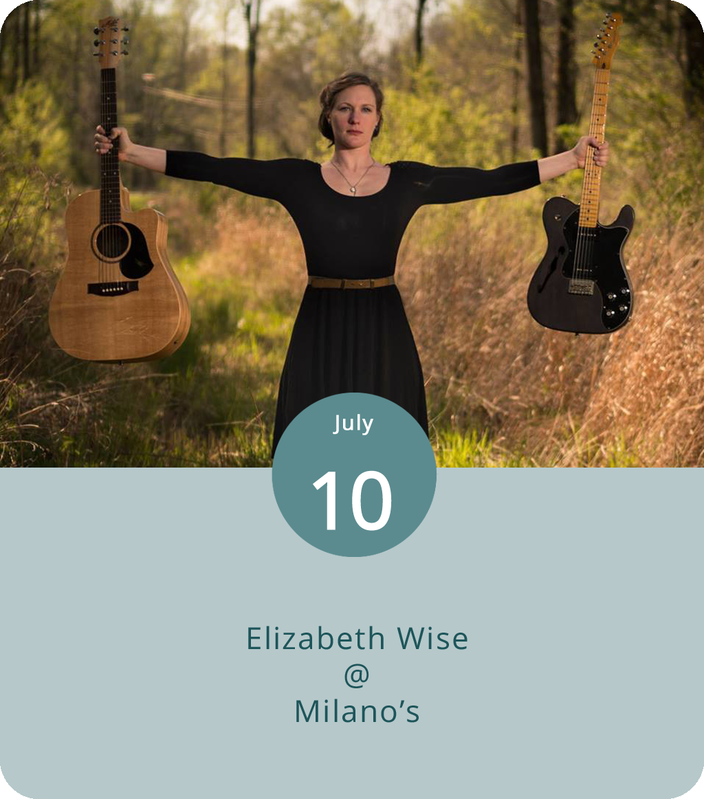 It's a mid-week, mid-summer's day in Lynchburg, which means there's not a whole lot going on. Thankfully, Milano's (4327 Boonsboro Rd.) hosts a weekly live music night in the restaurant's bar area, and this evening they've got a solid show. Virginia-bred singer/guitarist Elizabeth Wise comes steeped in the blues traditions of Mississippi, the rhythm-and-soul of Memphis, and the pastoral folk of the Blue Ridge Mountains. She'll perform a couple of sets from 7:30-10:30 p.m. There's no cover. Click  here  for Milano's info or call (434) 384-3400.
