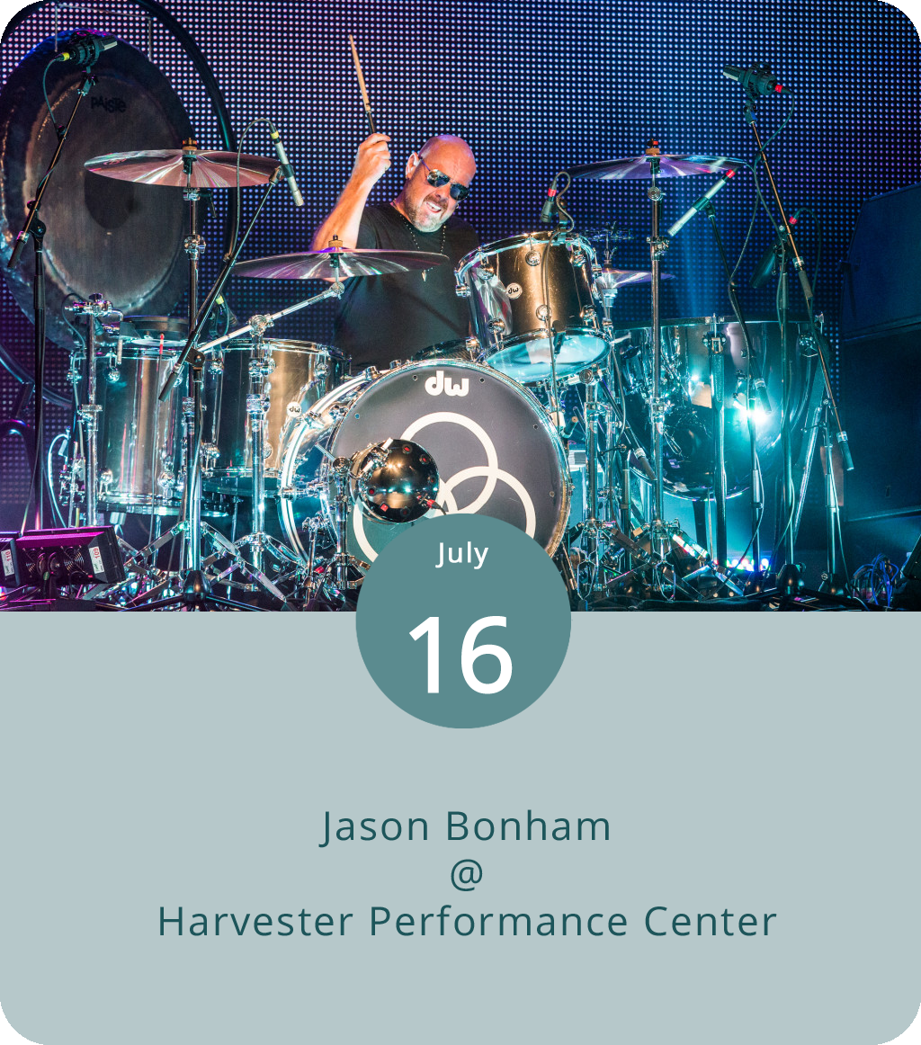 Jason Bonham is the one guy who was not an original member of Led Zeppelin who clearly has every right to be out there doing the Led Zep tribute thing. Of course, Jason was only two years old when his father John played his first show as Zep's drummer in 1968. Legend has it that Jason was a pretty decent drummer by the age of five, when  Led Zeppelin IV  came out. Since the passing of his father in 1980, Jason has been involved many musical projects, including several stints as Zeppelin's actual drummer. This evening he'll be at Rocky Mount's intimate Harvester Performance Center (450 Franklin St.) performing the songs of his father's band. The show starts 8 p.m. and tickets are $107. Click  here  for more info or call (540) 484-8277.