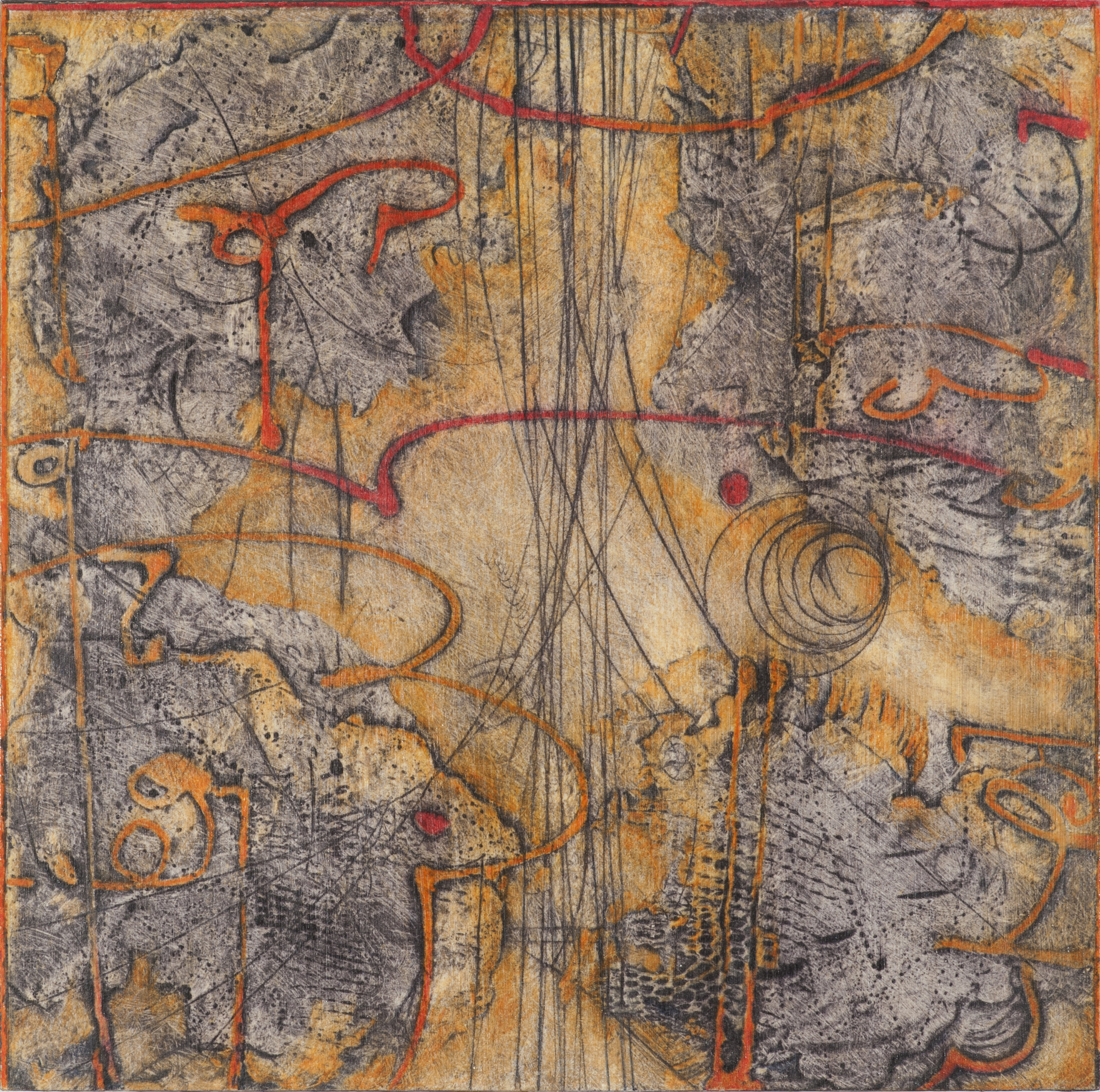 Sigma Self-Energy 2 , encaustic collagraph monoprint, Cretacolor and medium mounted on panel 10 x 10 inches. Available at   Gremillion & Co. Fine Art  , Houston