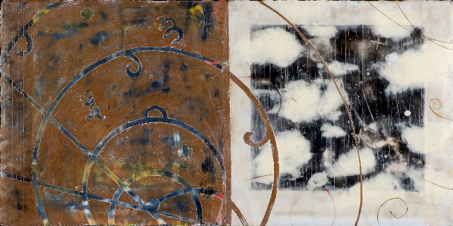 Collision, 2006  encaustic and oil on panel 18 x 38 inches  Private Collection, Seattle