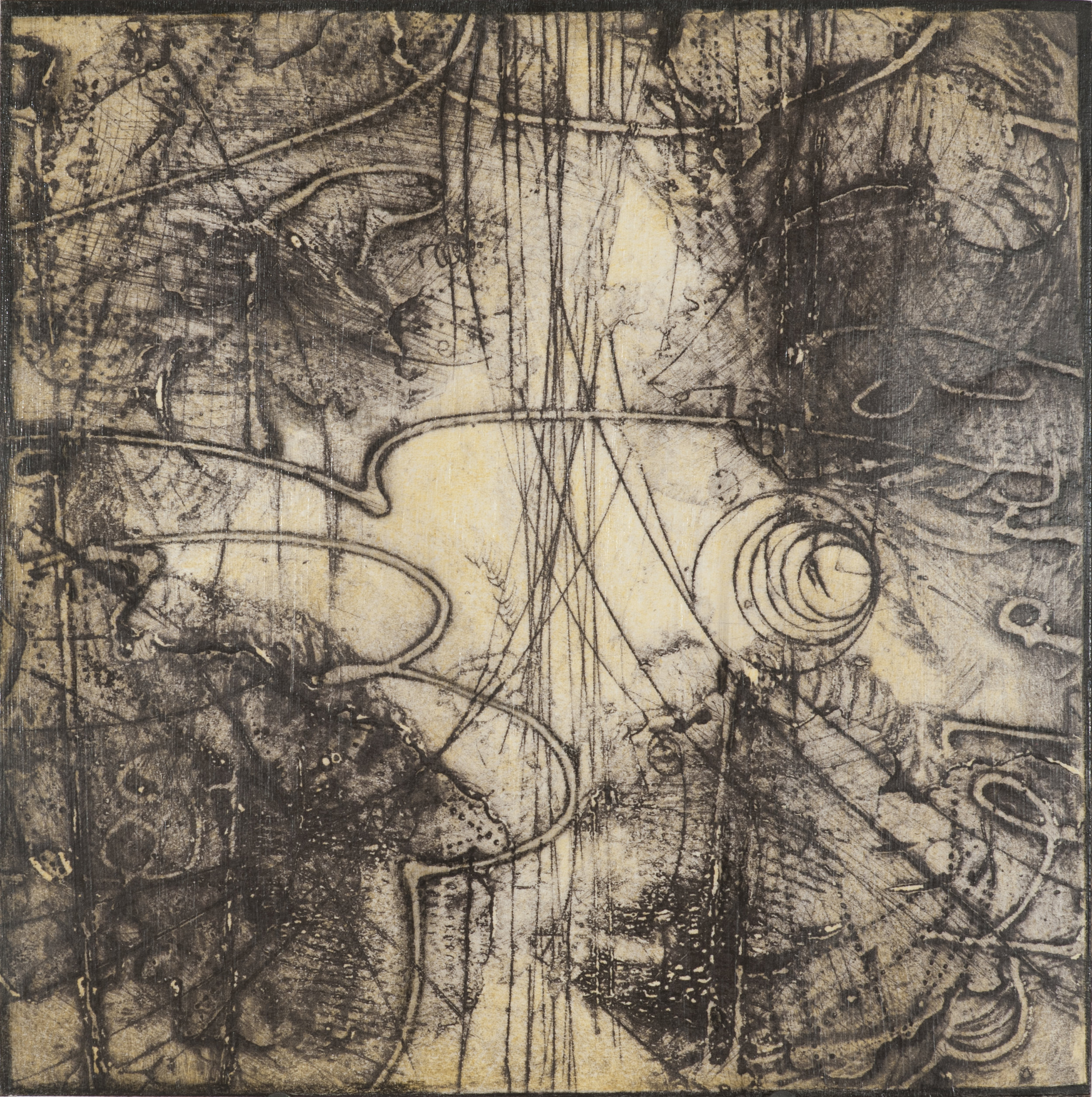 Sigma Self-Energy 6 , encaustic collagraph monoprint, Cretacolor and medium mounted on panel 10 x 10 inches, Available at   Gremillion & Co. Fine Art  , Houston