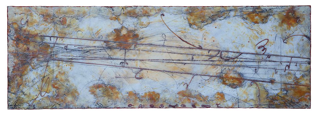 Remnant Horizon II, 2015  encaustic and oil on panel 24 x 70 inches  Private Collection, Seattle