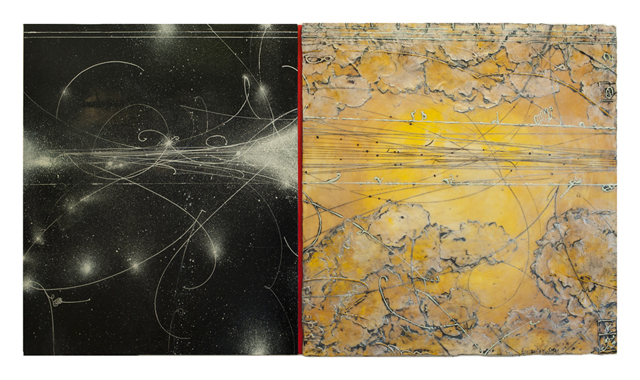 Opposing Cartography 6, 2014  encaustic and oil on panel 30 x 54 inches  Private Collection, Chicago