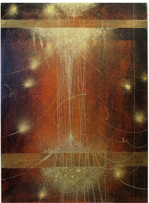 Astral Transits III, 2015  oil on panel 28.5 x 18.5 inches.   Inquire for price.