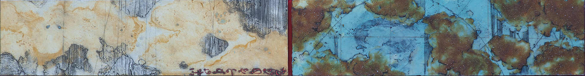 Opposing Cartography 10 , monoprint, encaustic and oil on panel 8 x 44.5 inches