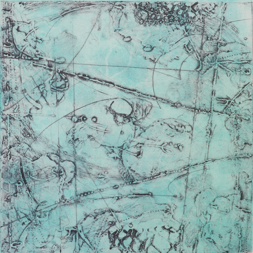 Remnant Topography 10 , encaustic collagraph monoprint 10 x 10 inches.   Studio Inventory,   Portland, OR