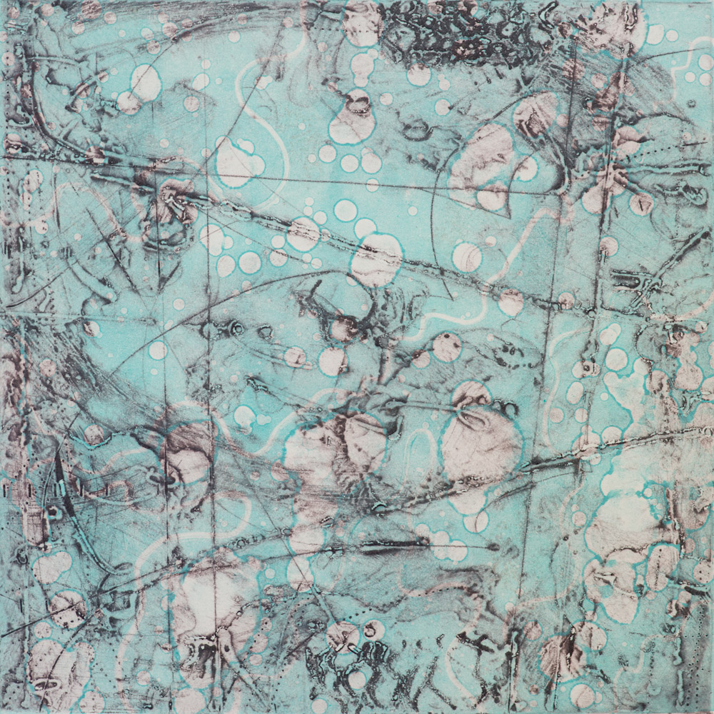 Remnant Topography 11 , encaustic collagraph monoprint 10 x 10 inches.   Studio Inventory,   Portland, OR