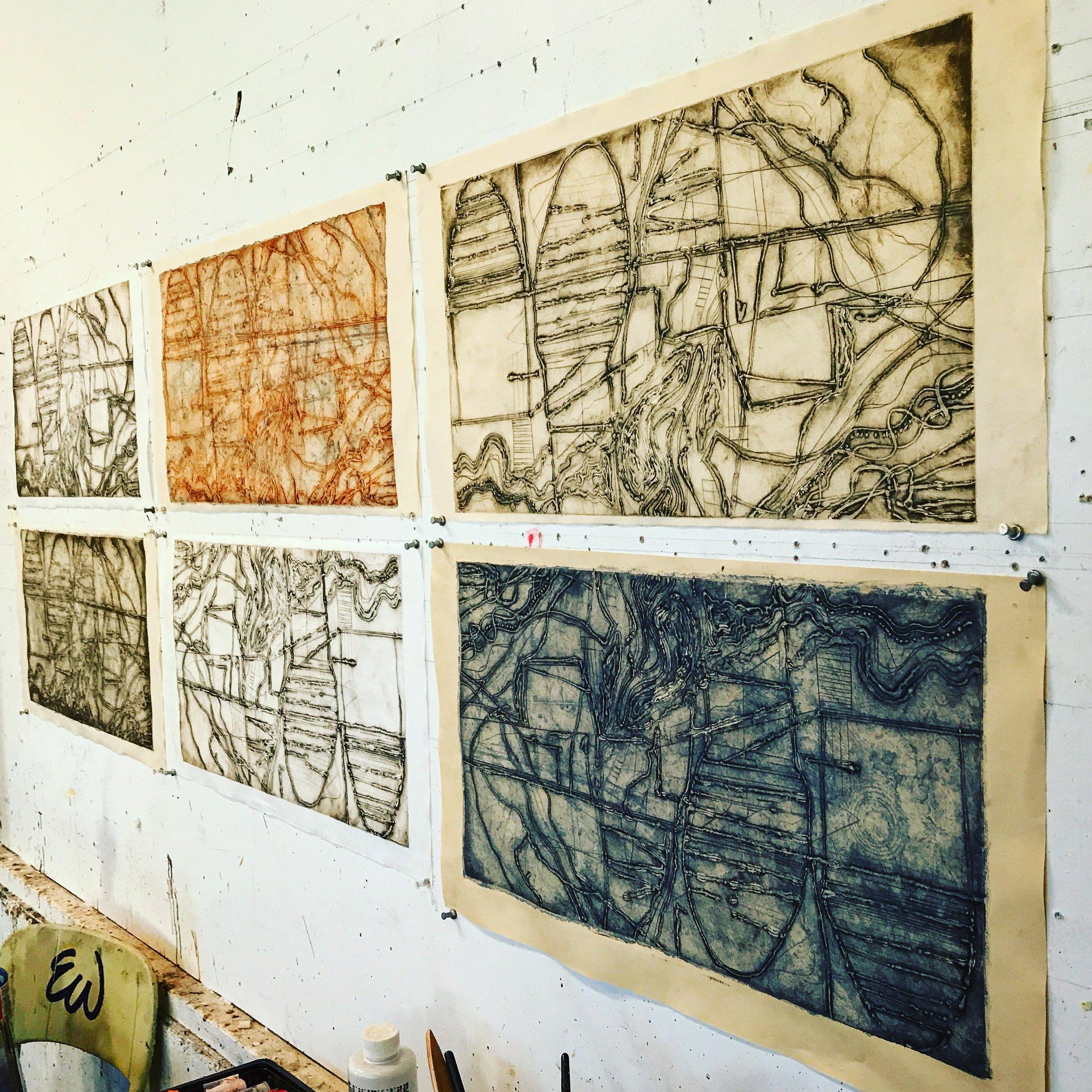 Prints awaiting panels.