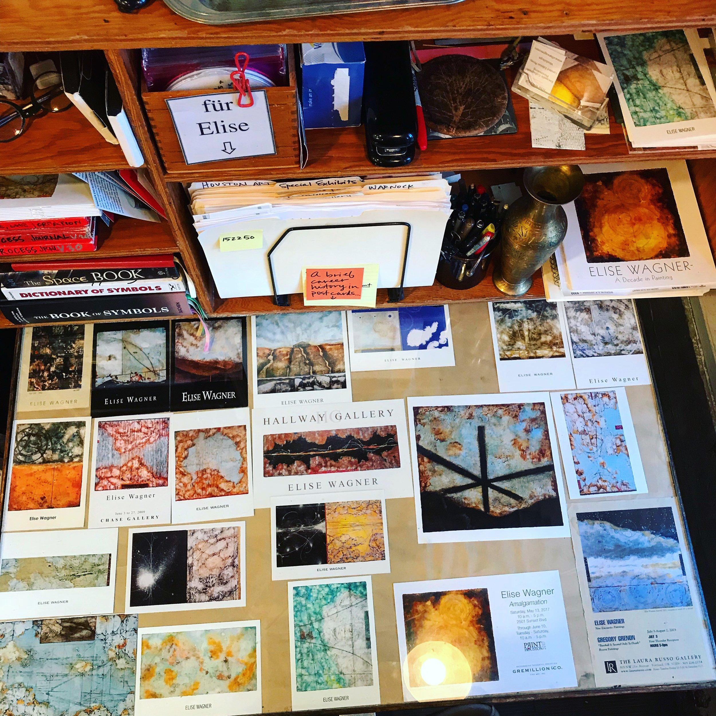 My career in postcards on my studio desk serves as a reminder.