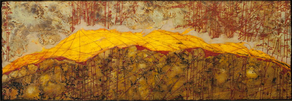 """Absolute Horizon II, encaustic and oil on panel, 24"""" x 70"""". This painting of mine froze in transit to a client in Washington D.C. during the 2014 arctic blast. It took me 40 hours to fix this piece. This image is of the restored painting that froze while shipping to D.C., the client unfortunately did not want the painting back. Luckily, the initally tragic story of this painting had a very happy ending when it sold soon after through my Seattle gallery to a chemical engineer in Midland, TX."""