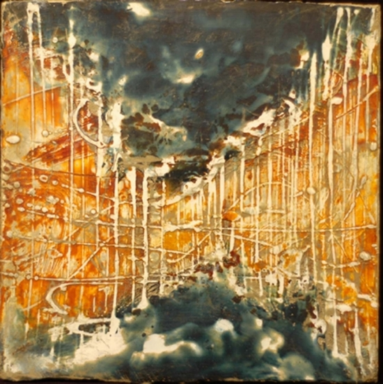 Cloudburst Plate 1, 2009  encaustic and oil on panel 10 x 10 inches.  SOLD