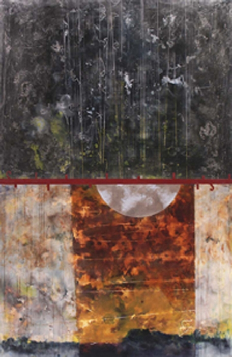 Particle Matrix, 2008  encaustic and oil on panel 52 x 30 inches  Private Collection, Portland